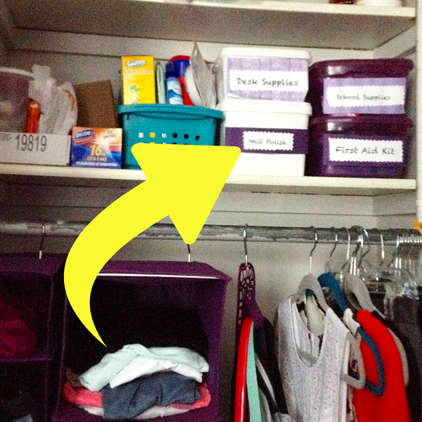 Organizing with baskets and bins in your college dorm room closet