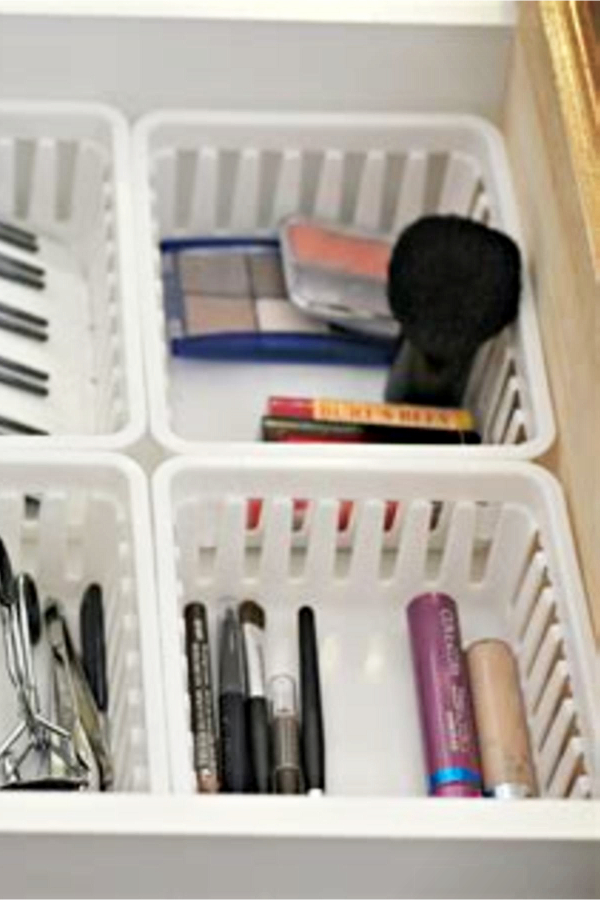 Organizing with baskets - makeup and bathroom drawers