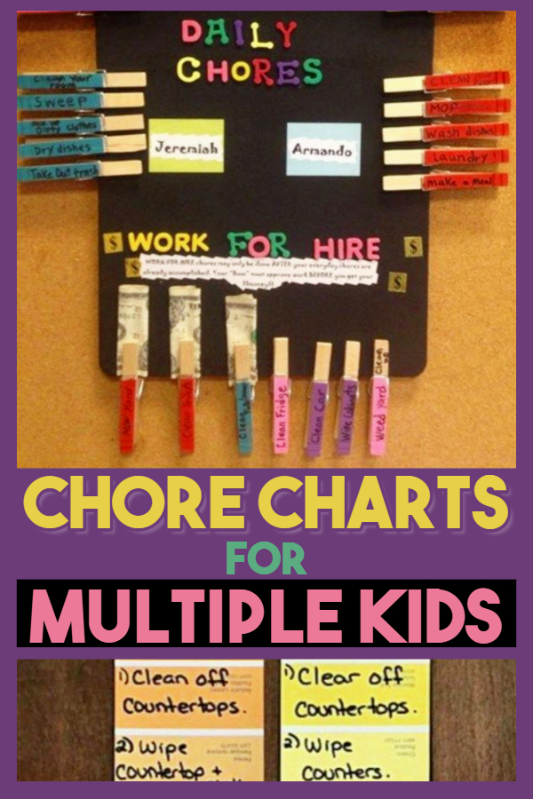 Chore Charts for Multiple Kids (with allowance too).  One of my favorite parenting hacks is an allowance system for kids that pays for chores for kids by age (from toddler to 11 year old).  These family chore charts, chore list ideas, free printable chore charts, morning checklist for kids ideas and chore board ideas are all easy chore charts for multiple kids-DIY chore charts - they're like a kids command center to do their chores around the house with money involved as a positive reward system.