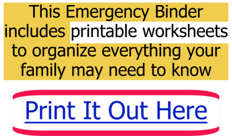 Organize your important documents and information into this emergency binder - download, print and fill it out today