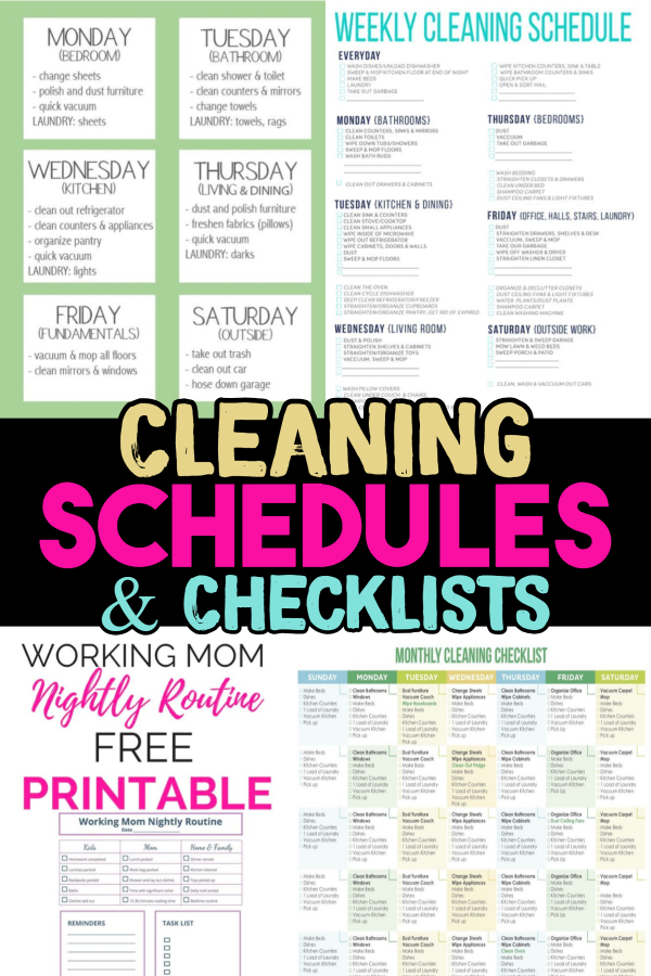 Cleaning Schedule and Checklist Ideas - cleaning hacks! Try our daily cleaning schedule, monthly cleaning schedule, weekly house cleaning schedule, daily cleaning checklist and weekly cleaning schedule printable ideas - nightly cleaning schedule for working moms too