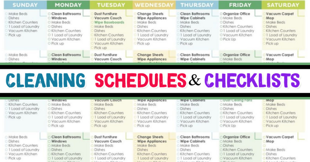 Daily house cleaning schedules and checklists to plan how to clean your house