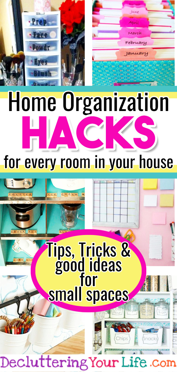 Home Organization HACKS!  Easy DIY home organization hacks - such good ideas for small spaces (easy storage solutions)  How to organize and declutter your tiny house on a budget the creative way.  These useful life hacks are organizing tips and organizing ideas every girls should know.  Great for apartments, kitchens, bathroom, closet, pantries using command hooks, curtain rods, baskets and more good ideas and home organization hacks that work.