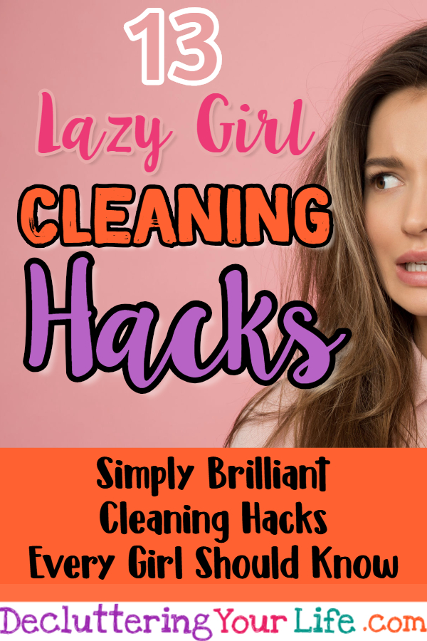 "Lazy Girl Cleaning Hacks - Lazy Cleaning Tips and Tricks - File these cleaning tips under ""cleaning hacks EVERYONE should know"". Sure, I know you want to clean your house in 20 minutes a day, but many readers ask me, ""…How to STOP being lazy and clean my house?"" because they KNOW all the benefits of a clean house."