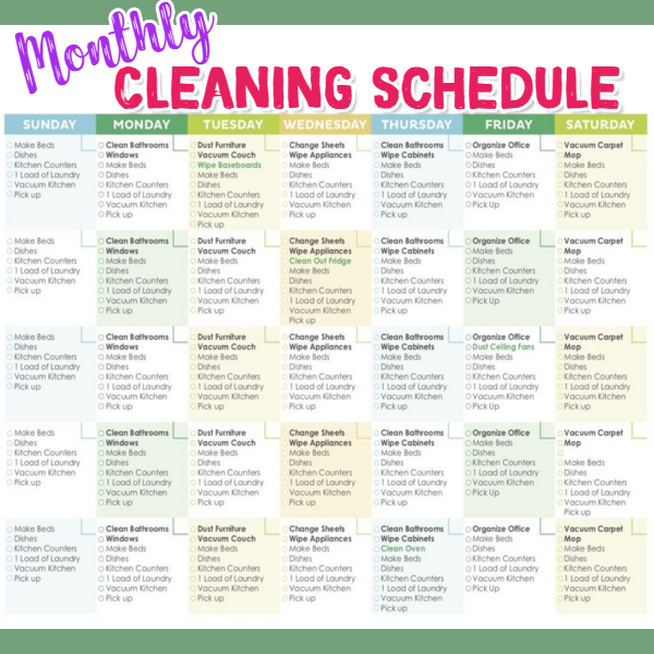 Monthly cleaning schedule - 30 day house cleaning schedule