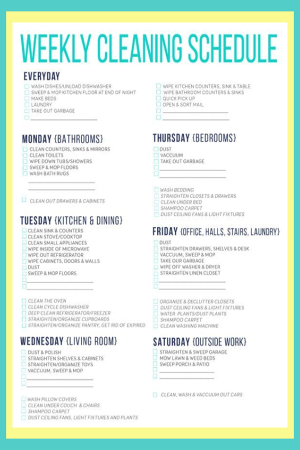 Weekly house cleaning schedule with daily cleaning schedule and checklist (printable)