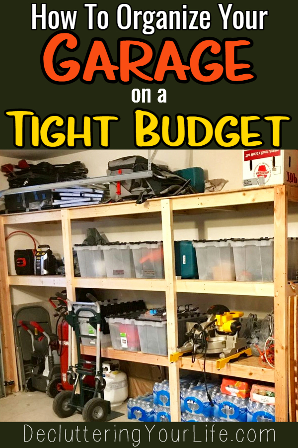 Simple Garage Storage Ideas on a budget {PICTURES}  Declutter and organize your garage with these 5 Quick and CHEAP garage organizing ideas.  Garage storage organization HACKS and small garage storage solutions. These simple garage organization ideas will help with organizing clutter in your garage. DIY cheap garage storage ideas and more cheap ways to organize your garage on a tight budget.
