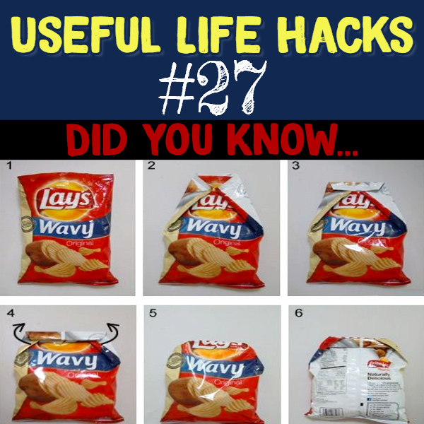 How to seal a chip bag WITHOUT a chip clip.. Useful life hacks to make life easier - household hacks... MIND BLOWN!