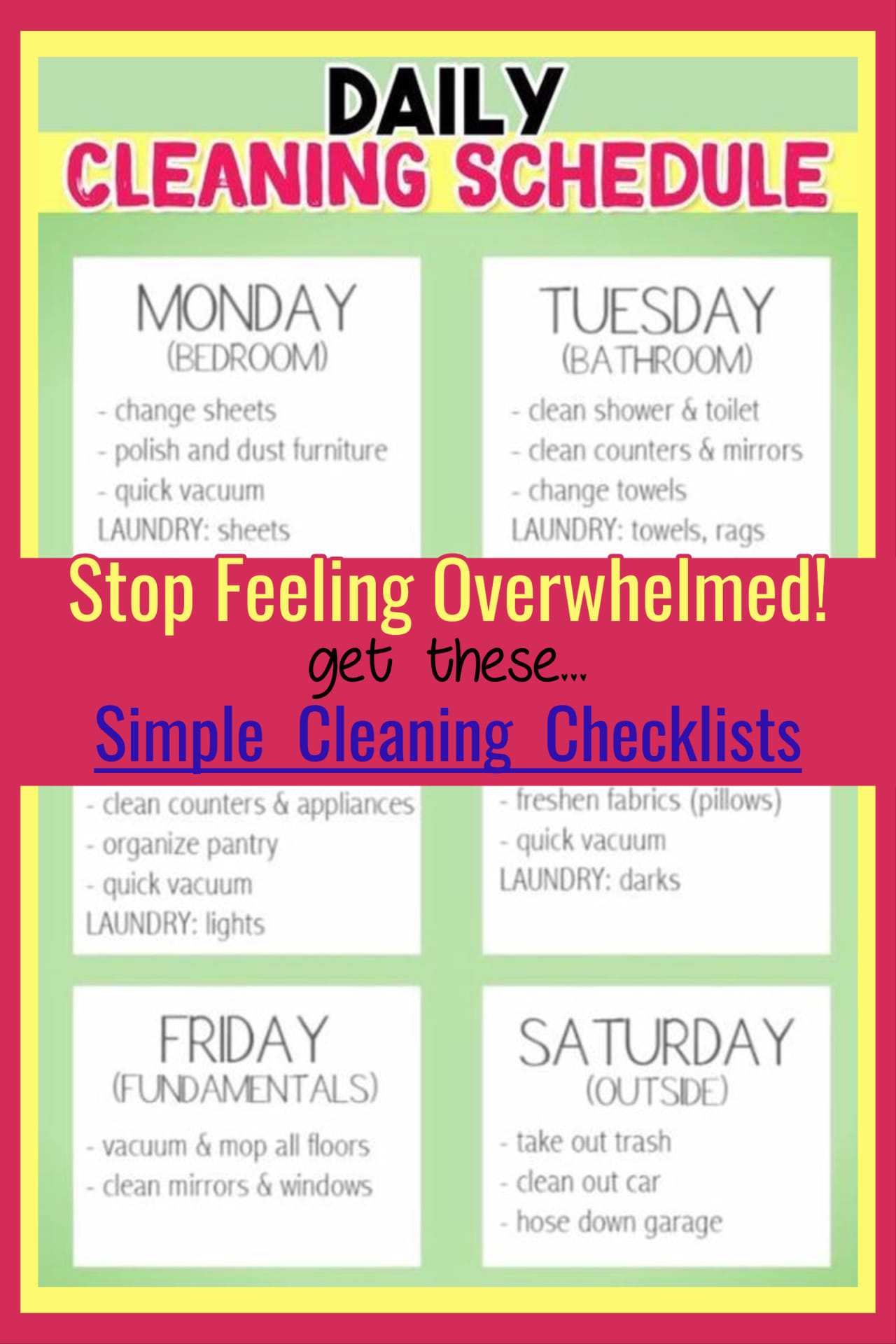 Need a SIMPLE weekly house cleaning schedule for working moms OR for stay at home moms? Print these daily, weekly and monthly house cleaning schedules and checklists and put in your household notebook - they're sure to help you get your messy house under control (and clutter-free) – AND make your weekly housekeeping chores SO much easier WITHOUT feeling overwhelmed!.