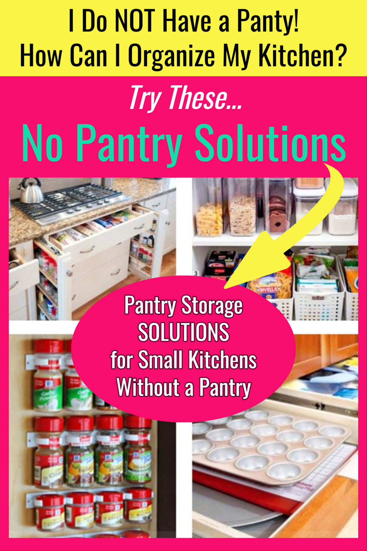 Kitchen pantry organization hacks for when you do NOT have a kitchen pantry area. Wish you had a small kitchen pantry, but you need pantry alternatives?  Here's Help! No pantry ideas for small kitchens, apartment kitchen and other tiny kitchens that need no pantry solutions.  If you need pantry ideas for small spaces BUT you do NOT have a pantry in your kitchen, these are the kitchen storage and organization ideas for you!  Small kitchen solutions for the win!