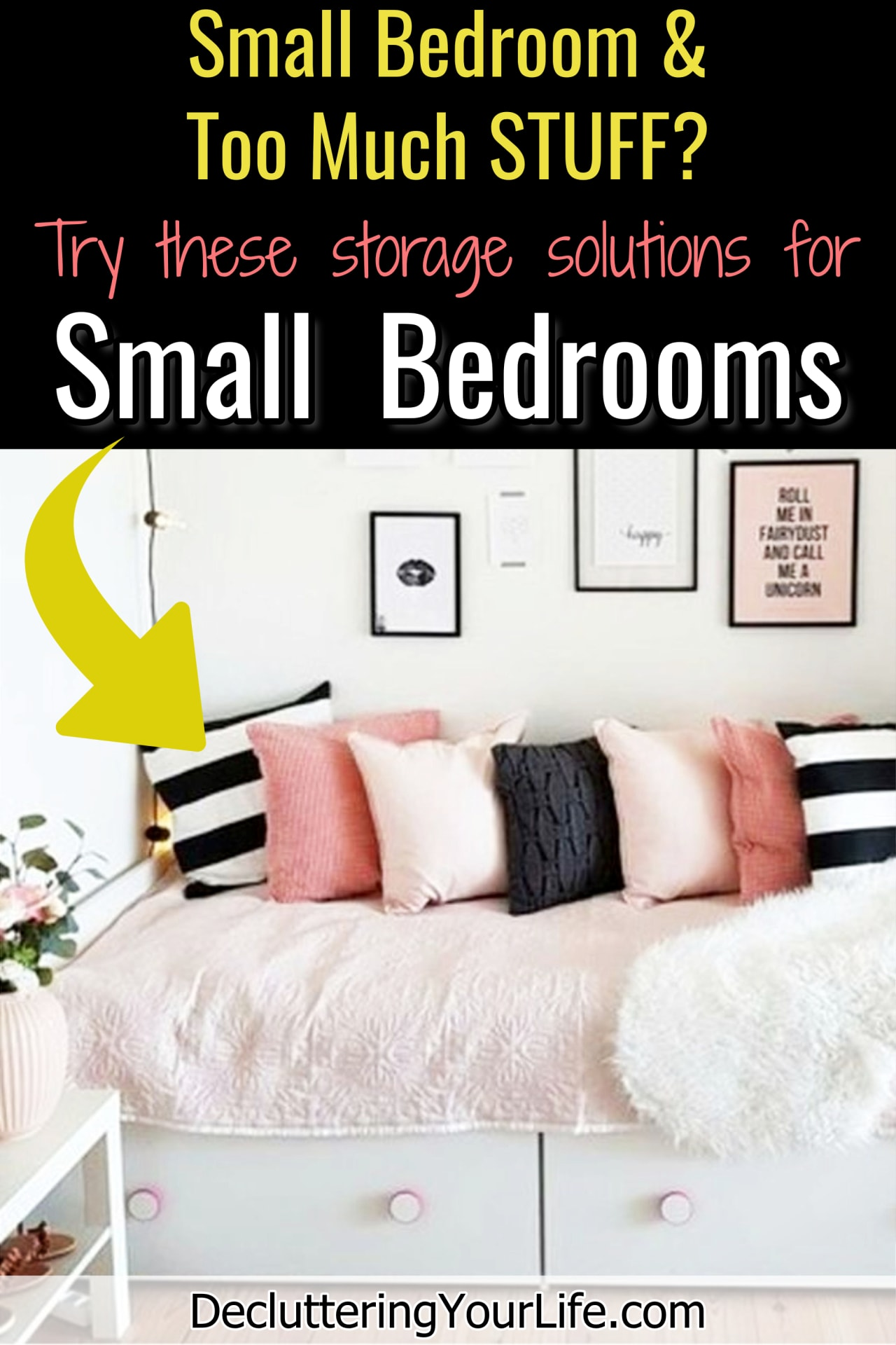 DIY small bedroom storage ideas - Staying organized in small spaces (like a small bedroom or small college dorm room) is hard when you have too much STUFF.How to declutter all the random junk in your bedroom with creative organizing tips and home storage and organization ideas for small bedrooms.  Easy ways to declutter your clutter from cluttered mess to organized success