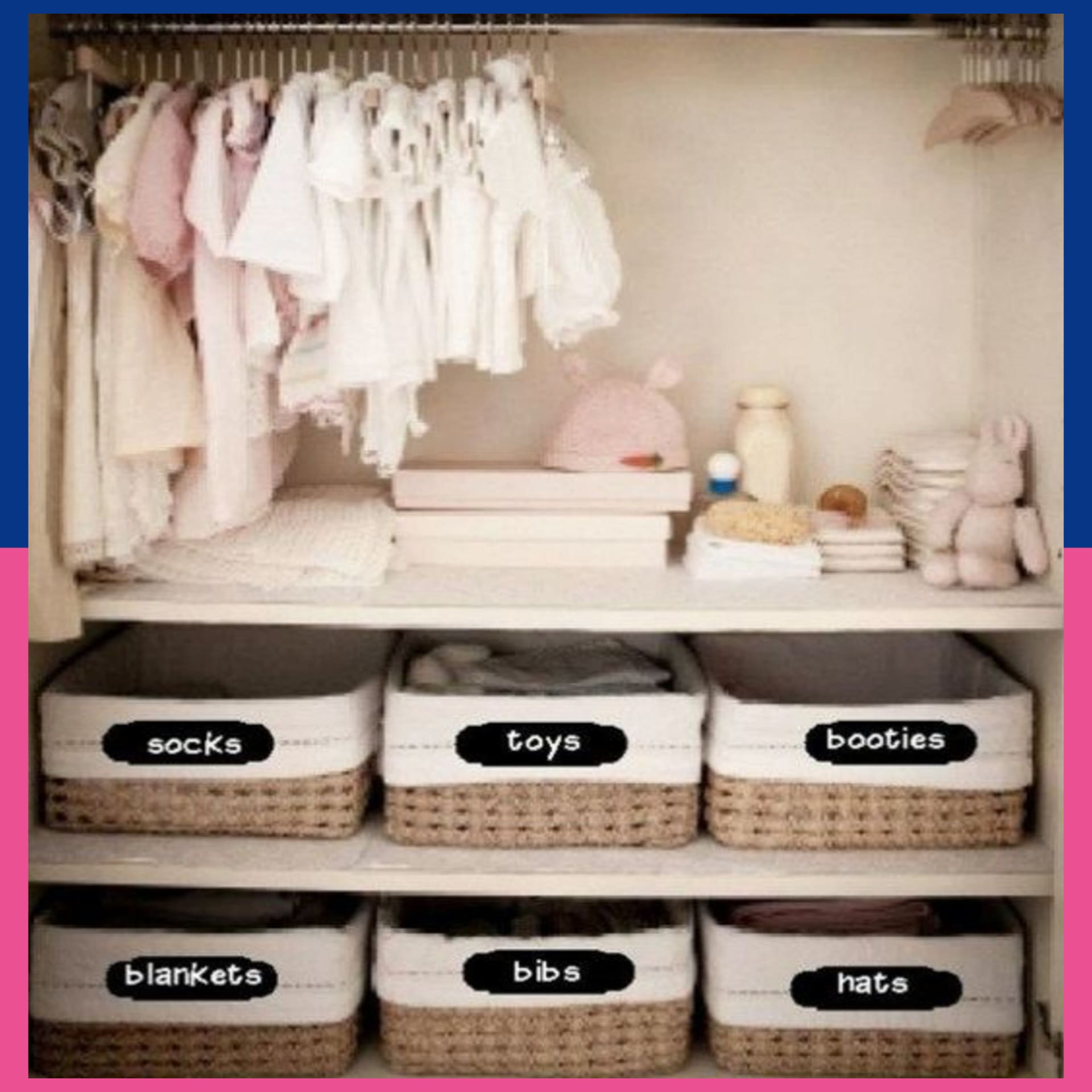 DIY organization ideas for the home - organizing with baskets in the baby closet - smart baby clothes organization dieas - nursery closet organization ideas for the home