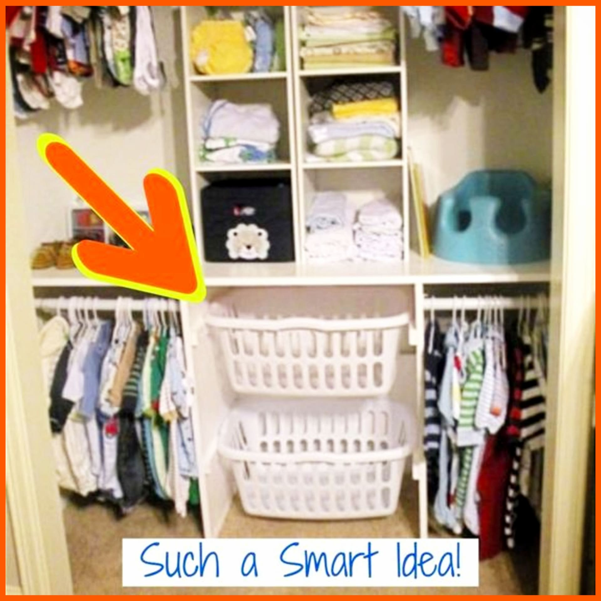 Organization ideas for the Home - baby clothes organization and storage ideas for small spaces like a small nursery closet