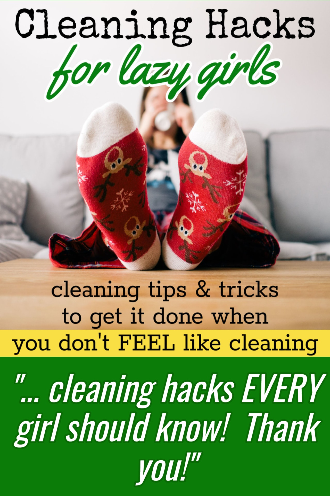 Cleaning Hacks EVERY Girl Should Know!  These cleaning tips, tricks, and home organization HACKS are perfect for lazy girls who can't get motivated to clean.  Overwhelmed by clutter?  Your house is a DISASTER?  Try these cleaning checklists, and cleaning hacks today!