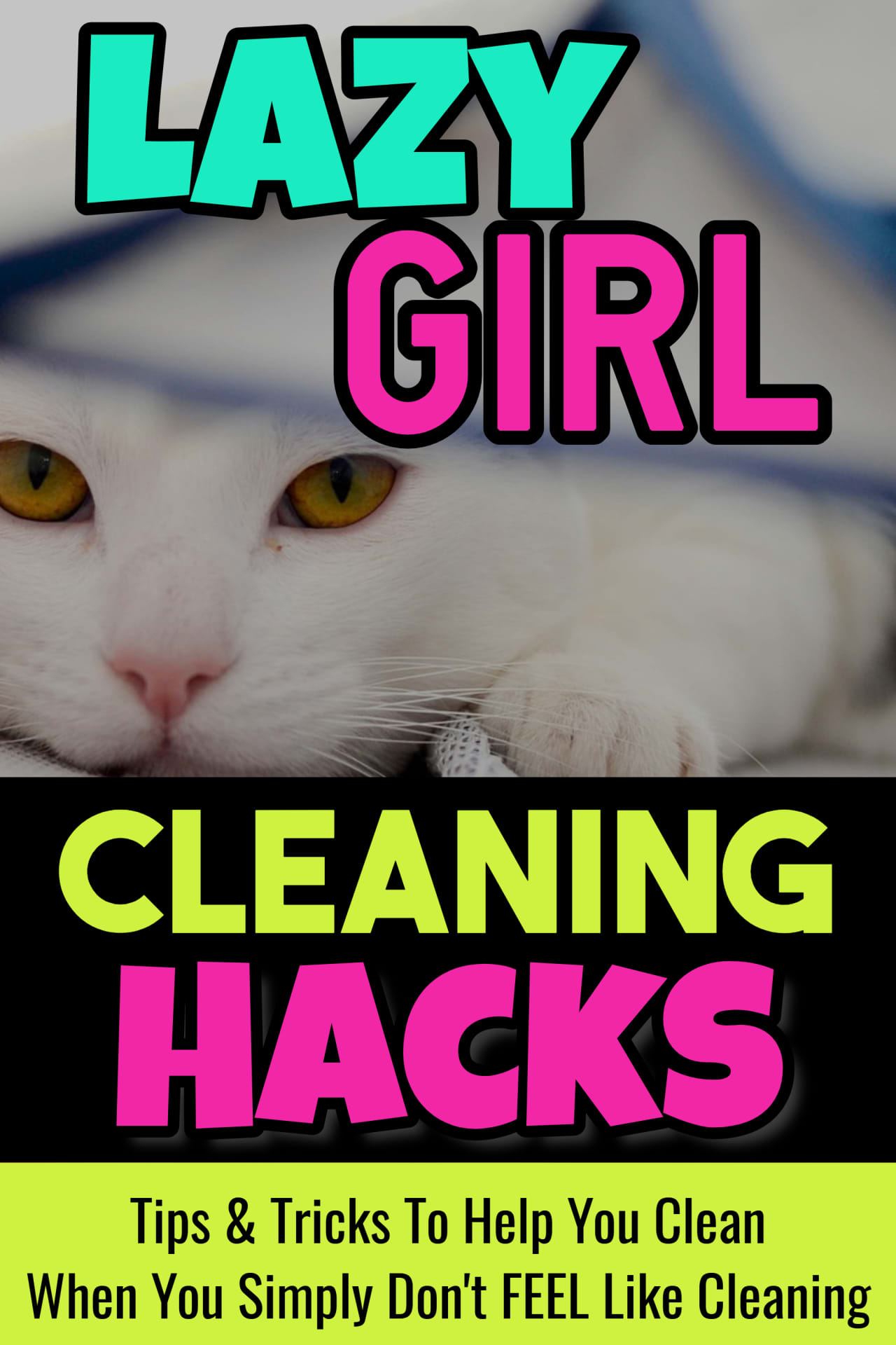 Cleaning Hacks, Cleaning Tips, Cleaning Checklists and Schedules for LAZY girls!  Can't get motivated to clean but your house is a DISASTER?  Here are some easy DIY tips and tricks (as well as some brilliant home organization hacks) to organize, declutter and CLEAN your house!