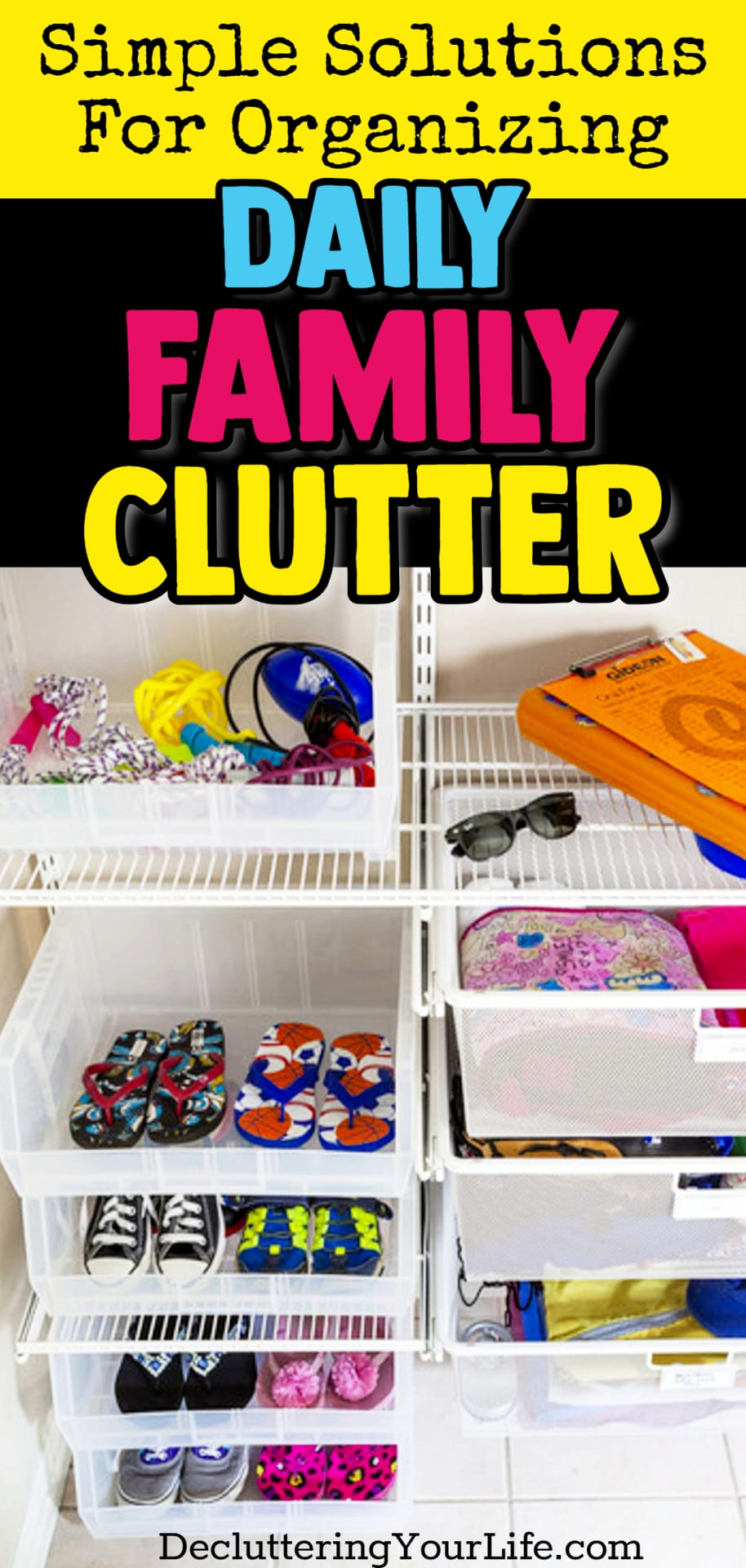 Such a Simple Solution to UNclutter Your Home! Getting organized and STAYING organized with kids is NO JOKE! Here's a borderline GENIUS home organization hack: create a clutter drop zone area for your family!