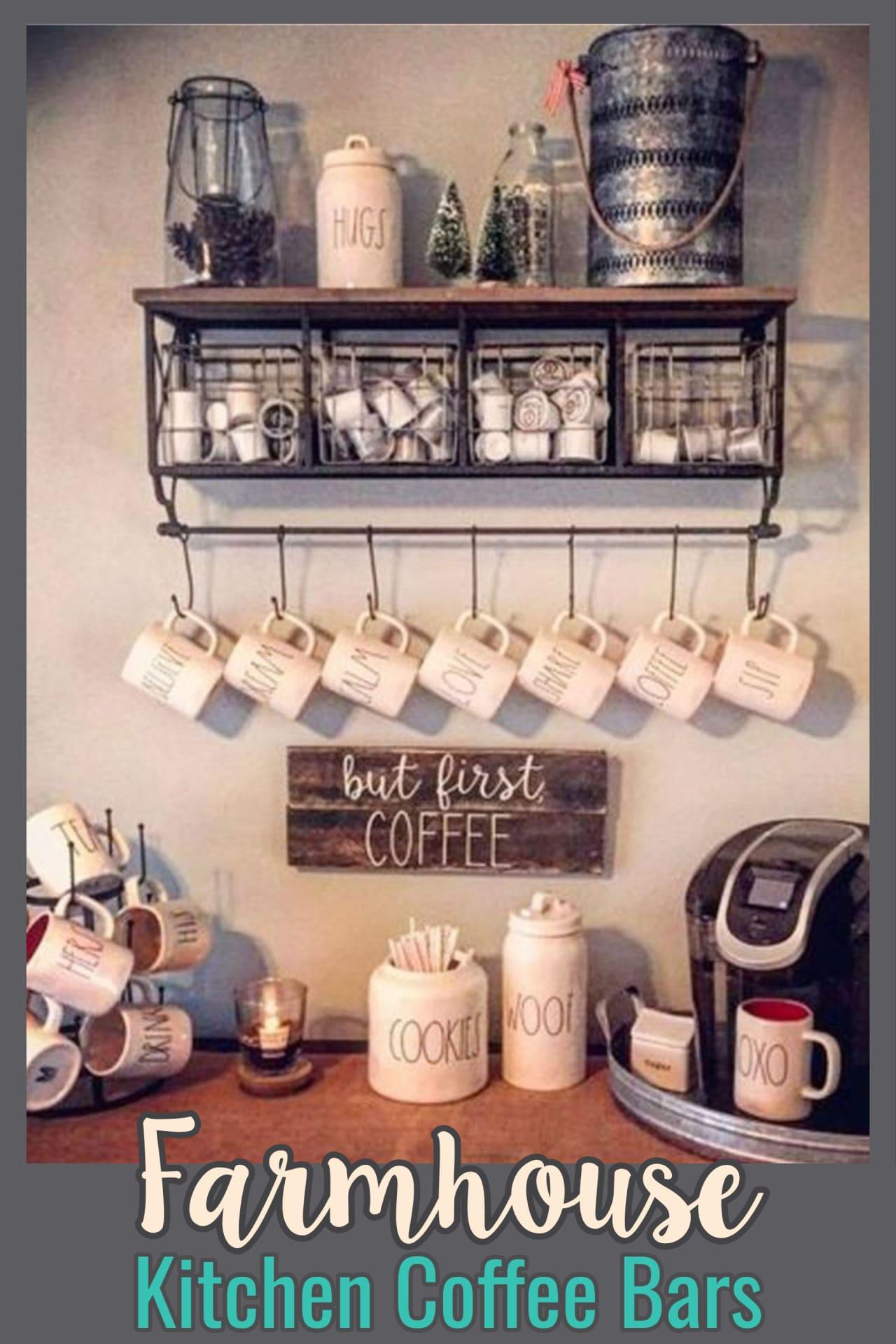 Farmhouse decor on a budget - coffee bar ideas for your farmhouse kitchen