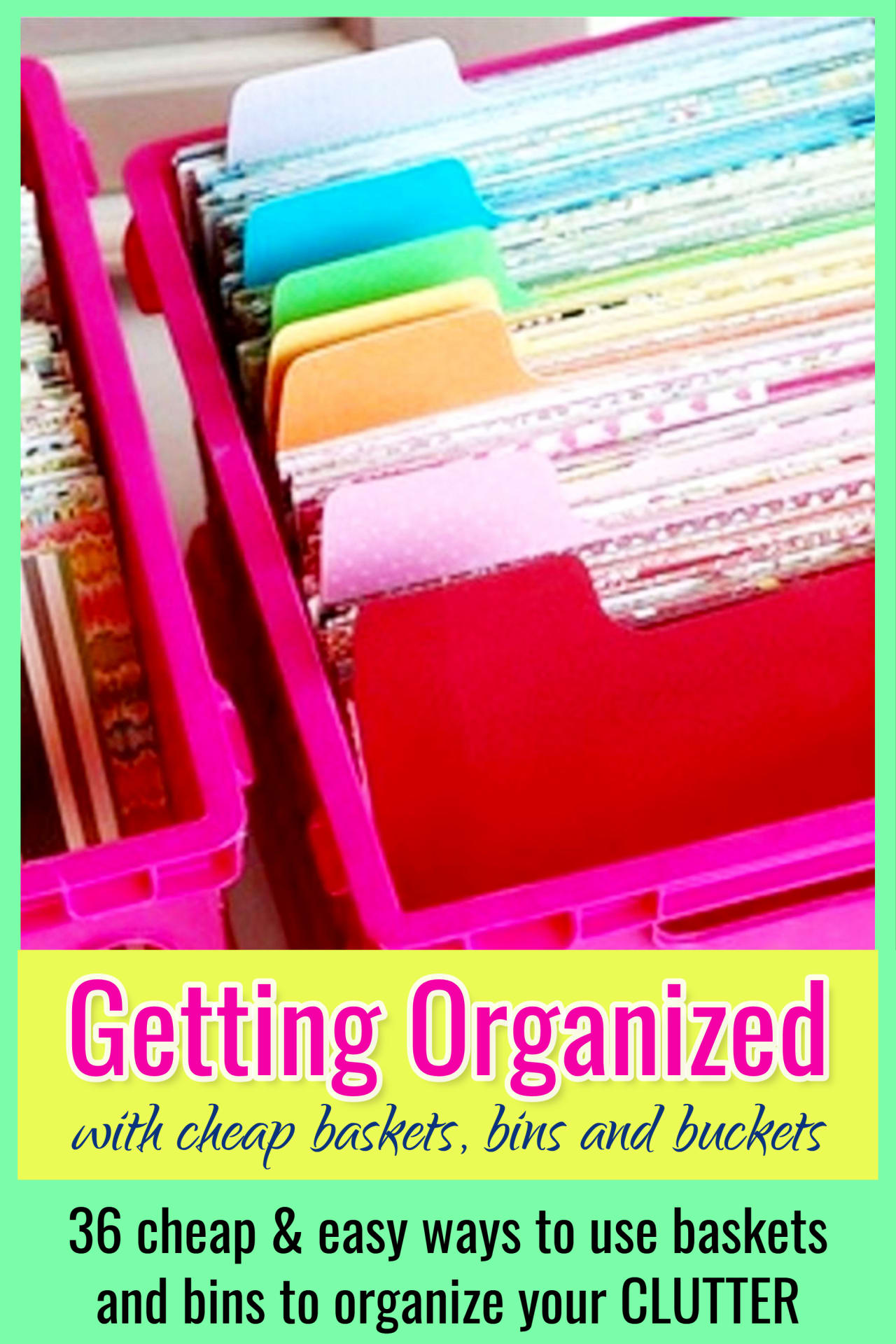 Organizing with BASKETS!  Clutter organization ideas using cheap dollar stores baskets and bins to organize your closet, bathroom, bedroom, home office, kitchen, clothes and more using these basket organization ideas for organizing clutter.