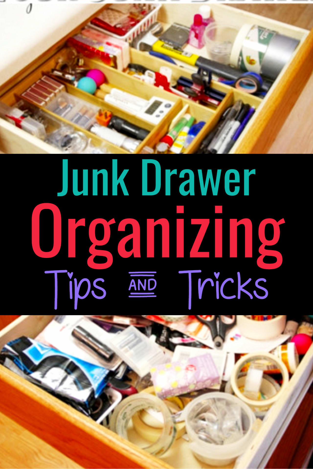 How to organize your junk drawer the EASY way.  These junk drawer organizing tips are sure to get your kitchen junk drawer decluttered and organized super fast.  If you love EASY drawer organization ideas, these DIY ideas are for you!