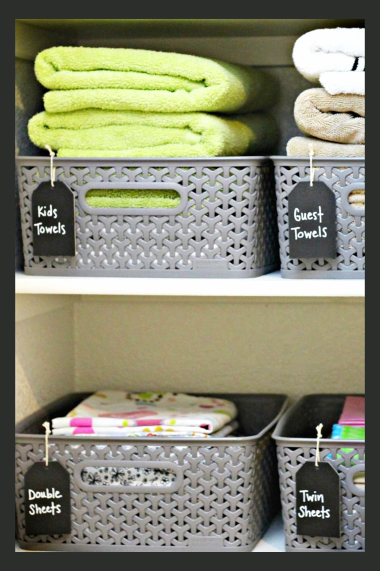 Organizing with baskets!  Use cheap dollar tree or dollar stores baskets to organize your linen closet.  Such creative storage solutions for small spaces - especially if you're on a budget