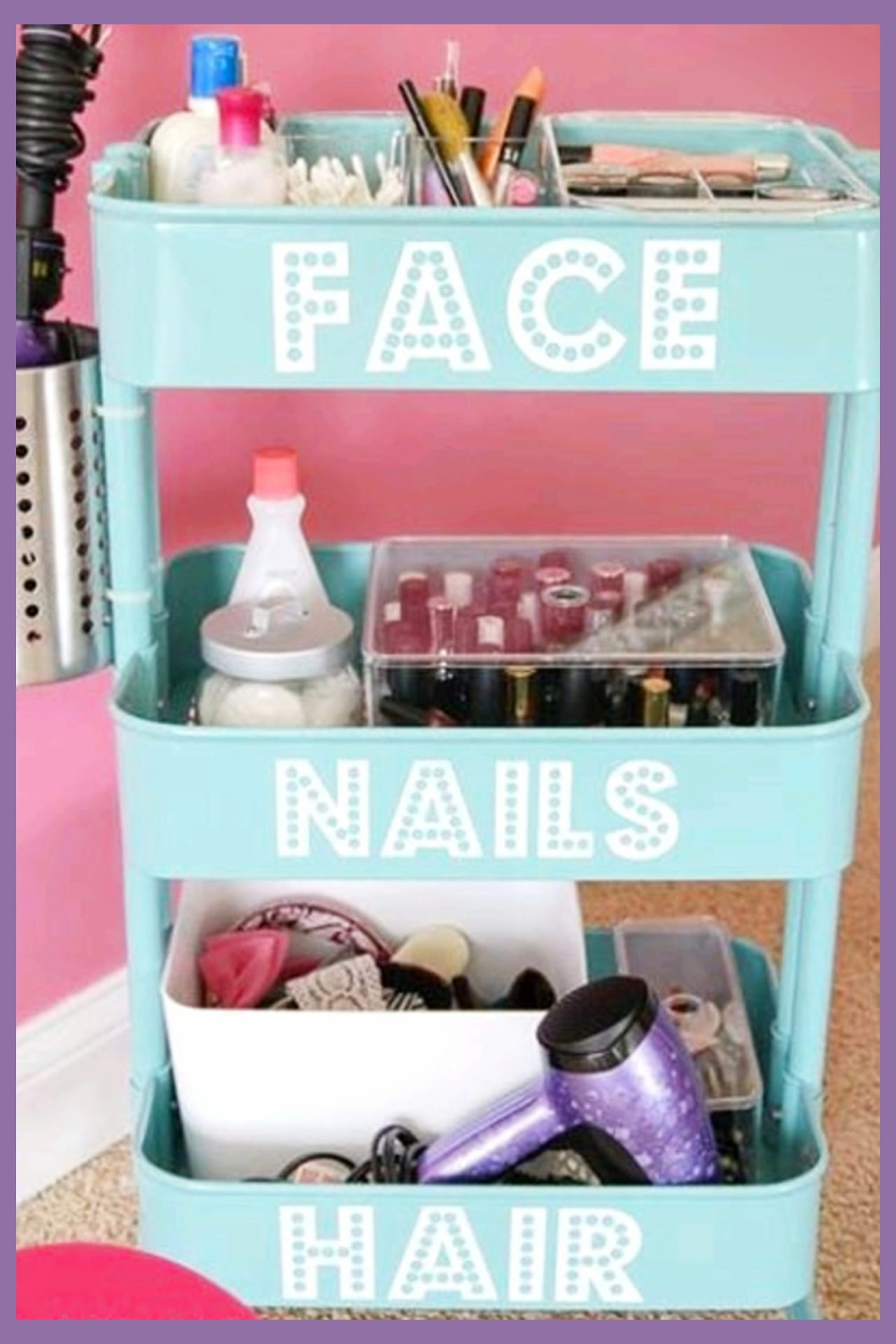 Organizing with baskets - cheap dollar stores organizer cart for organizing makeup, beauty supplies and ALL your bathroom clutter.  Creative organization hacks for small bathrooms and other small spaces.