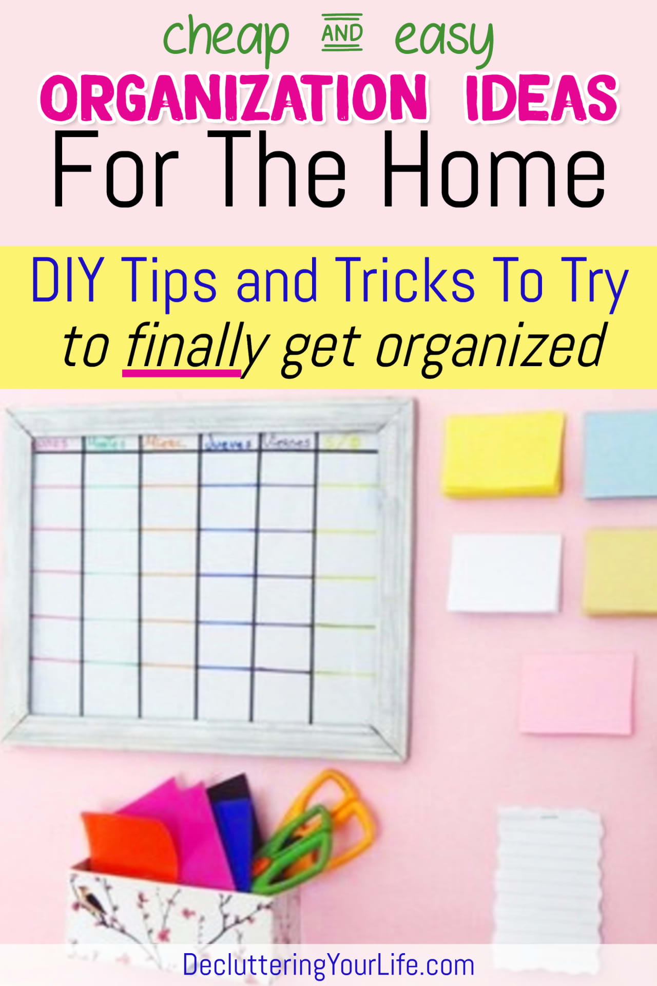 Cheap & Easy Organization Ideas for the Home DIY Tips, Tricks and Organization HACKS to try to finally GET organized and STAY organized (even if you're on a budget).  Trying to organize clutter and have TOO MUCH STUFF - but don't have the budget to BUY storage and organizers?  Try these budget-friendly home organizing DIY projects and cheap Dollar Store organizing hacks - fun, easy and they WORK!