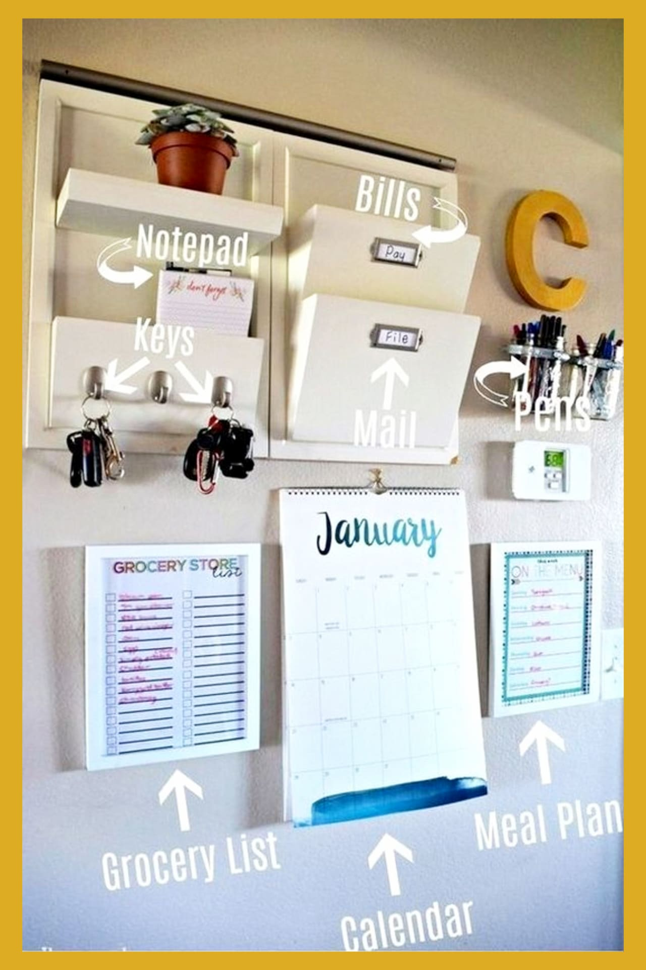 Organized mom hacks to organize like a pro! Organize with household items, dollar tree items and everyday objects - organize your family WITHOUT feeling overwhelmed! Simple family command center wall organization station