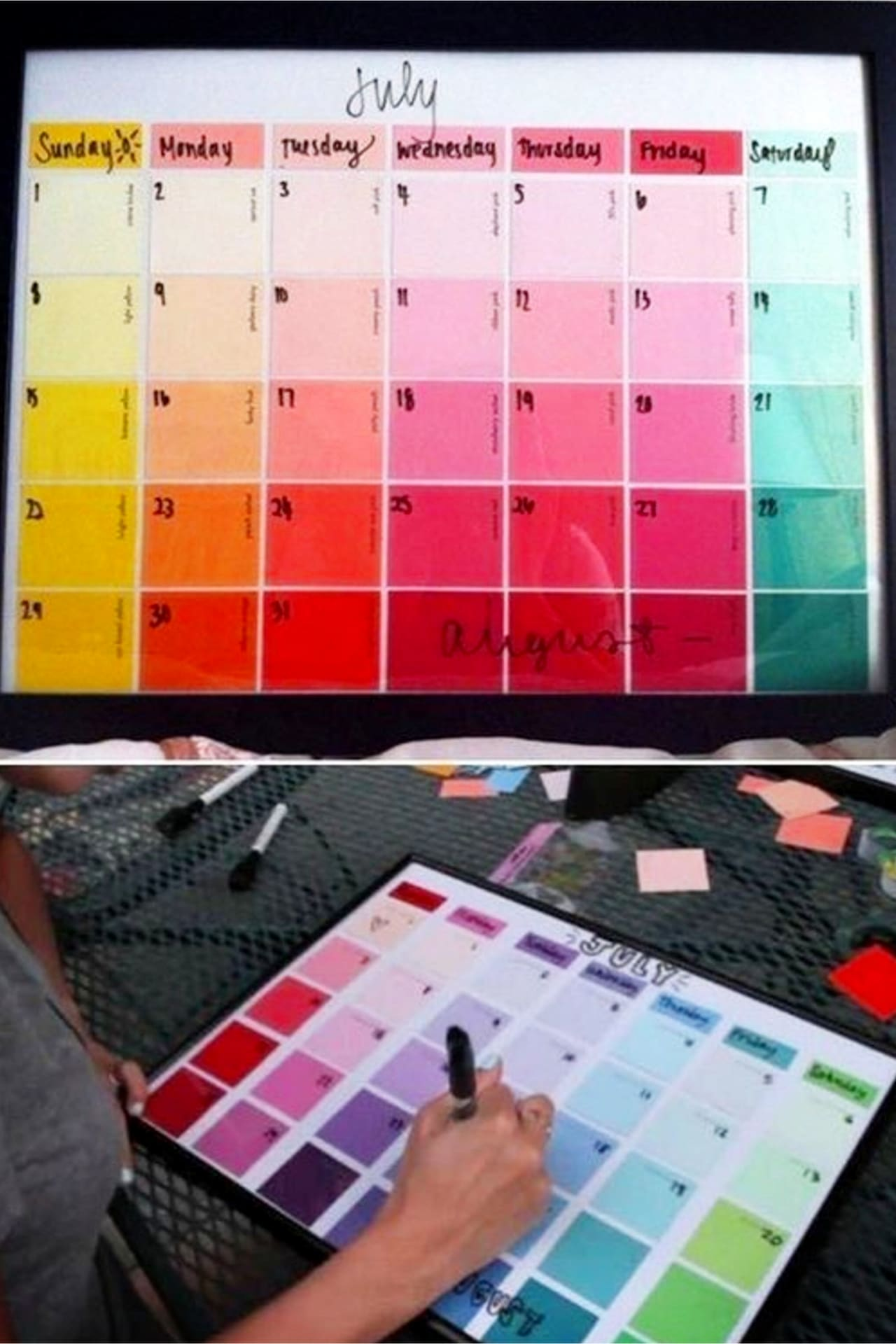Organize with household items, dollar tree items and everyday objects - DIY wipe off paint chip calendar