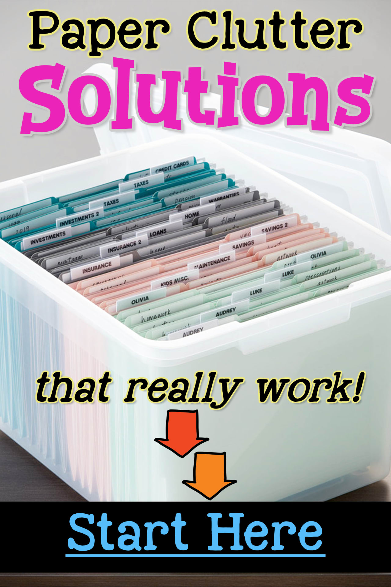 Paper Clutter SOLUTIONS!  Uncluttering your home and don't know how to eliminate paper clutter in your house?  Try these simple paper clutter solutions to sort and organize your bills, paperwork, school papers and important documents in your home WITHOUT feeling overwhelmed!