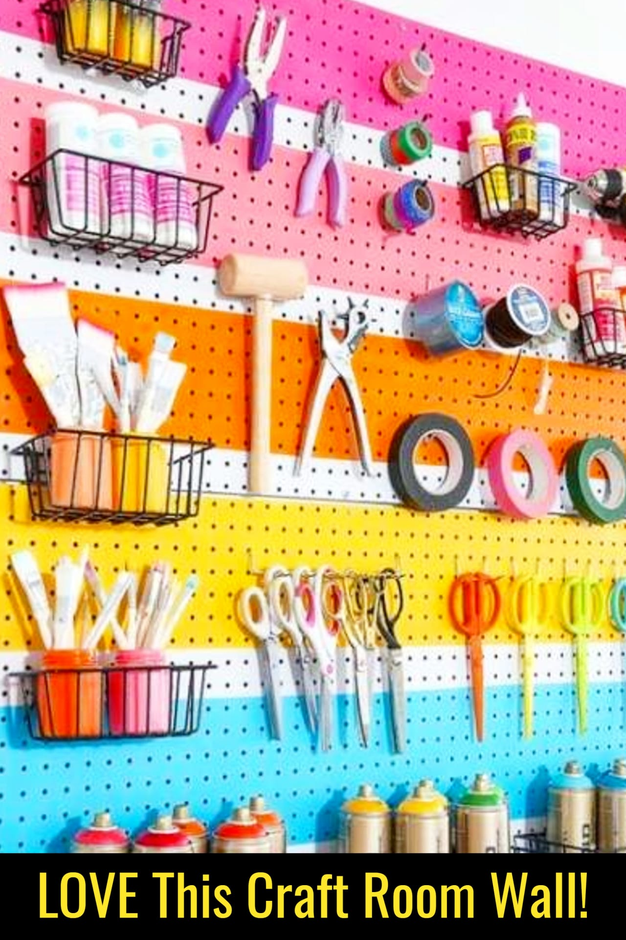 Craft room ideas on a budget - cheap craft room organization ideas - love this craft room wall organizer for organizing my craft supplies!