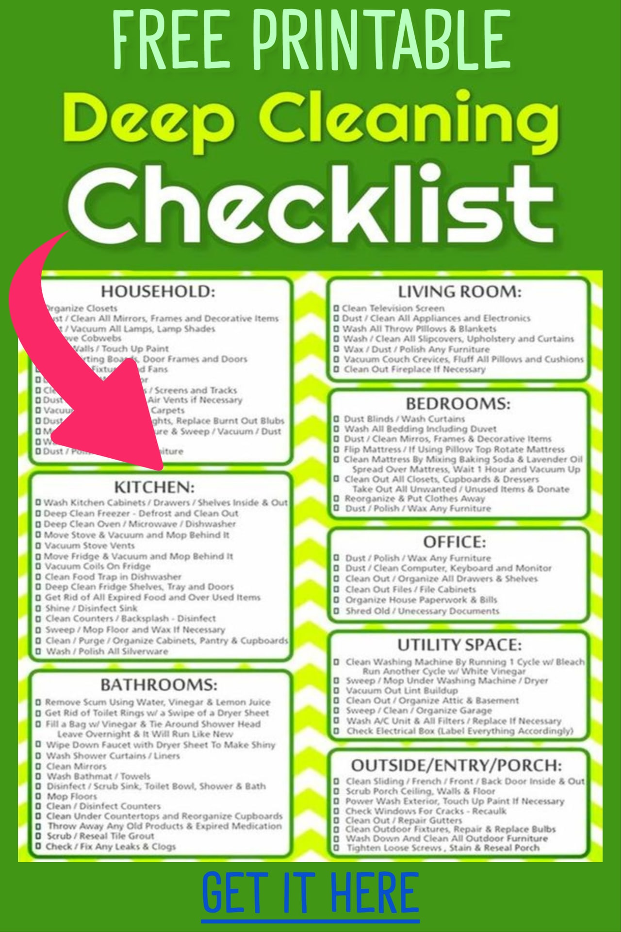Deep cleaning schedule printable checklist - deep cleaning house checklist free printable - weekly, monthly and daily chores to keep house clean - daily cleaning routines for busy working moms