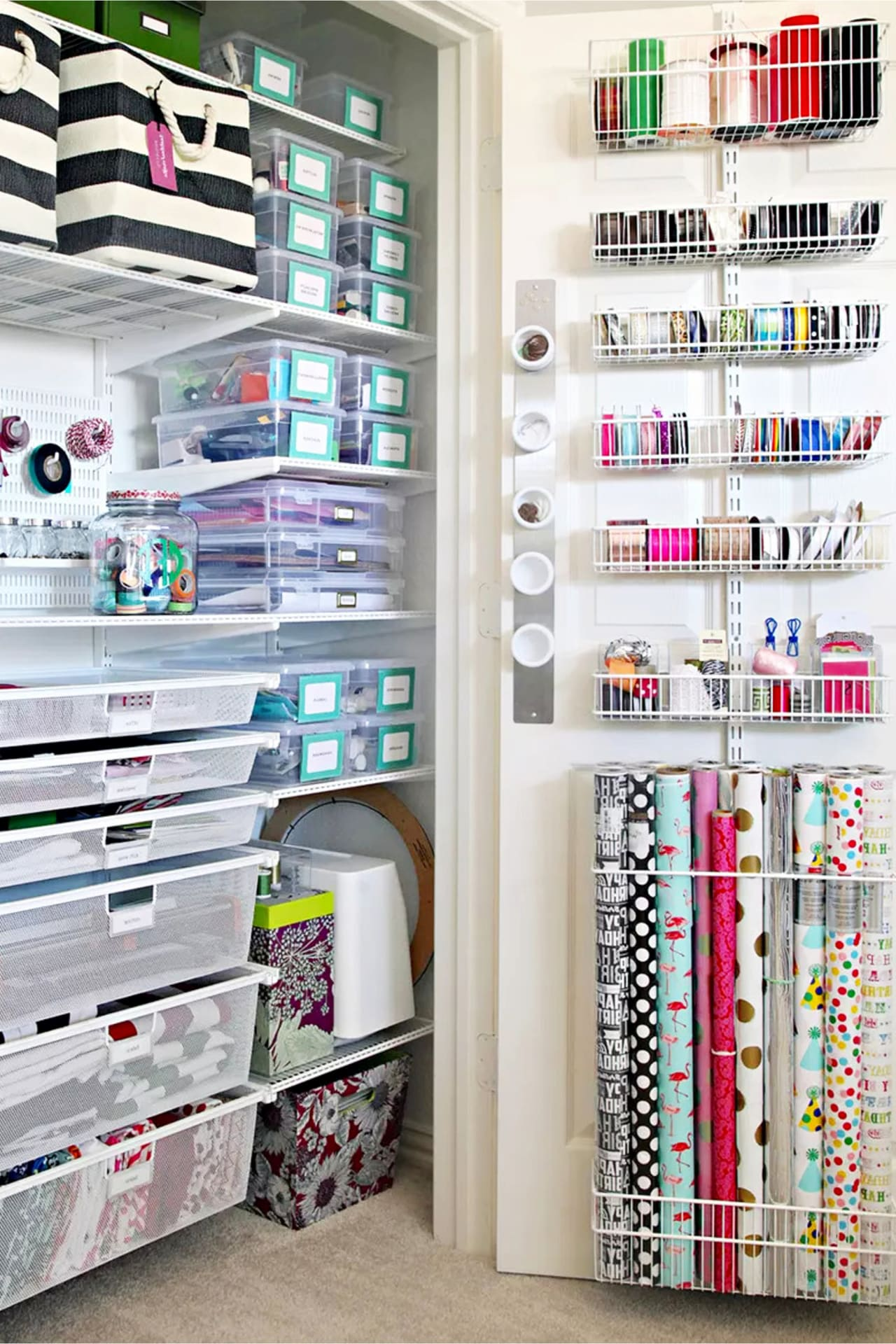 Craft room organization ideas on a budget - Dollar Store craft room closet organizing ideas for creative craft supplies sotrage even in small spaces - DIY craft room organization ideas on a budget and more creative craft room ideas