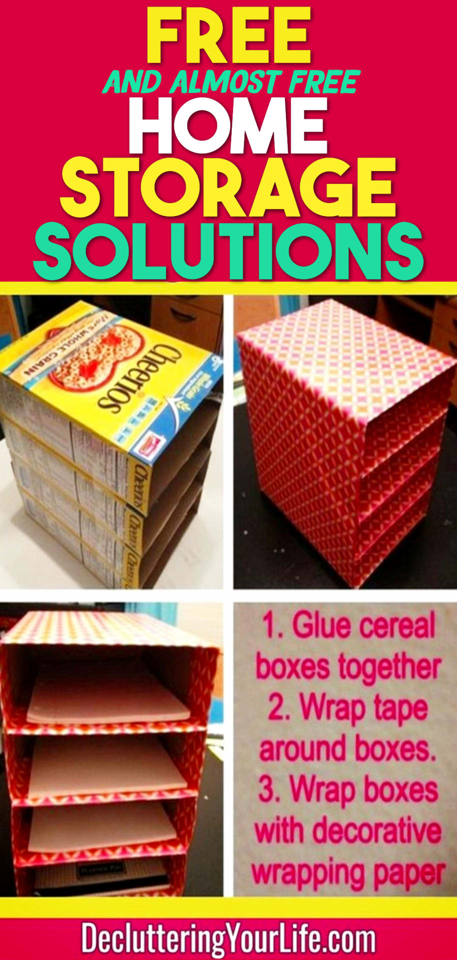 Free Home Organization Storage Solutions - Cheap Ways To Organize Your Home On a Budget - 33 Free (and ALMOST free) Home Organization Hacks To Get Organized on a Tight Budget - Budget-friendly organization tips for the frugal organizer for saving money while you unclutter your home and declutter your life