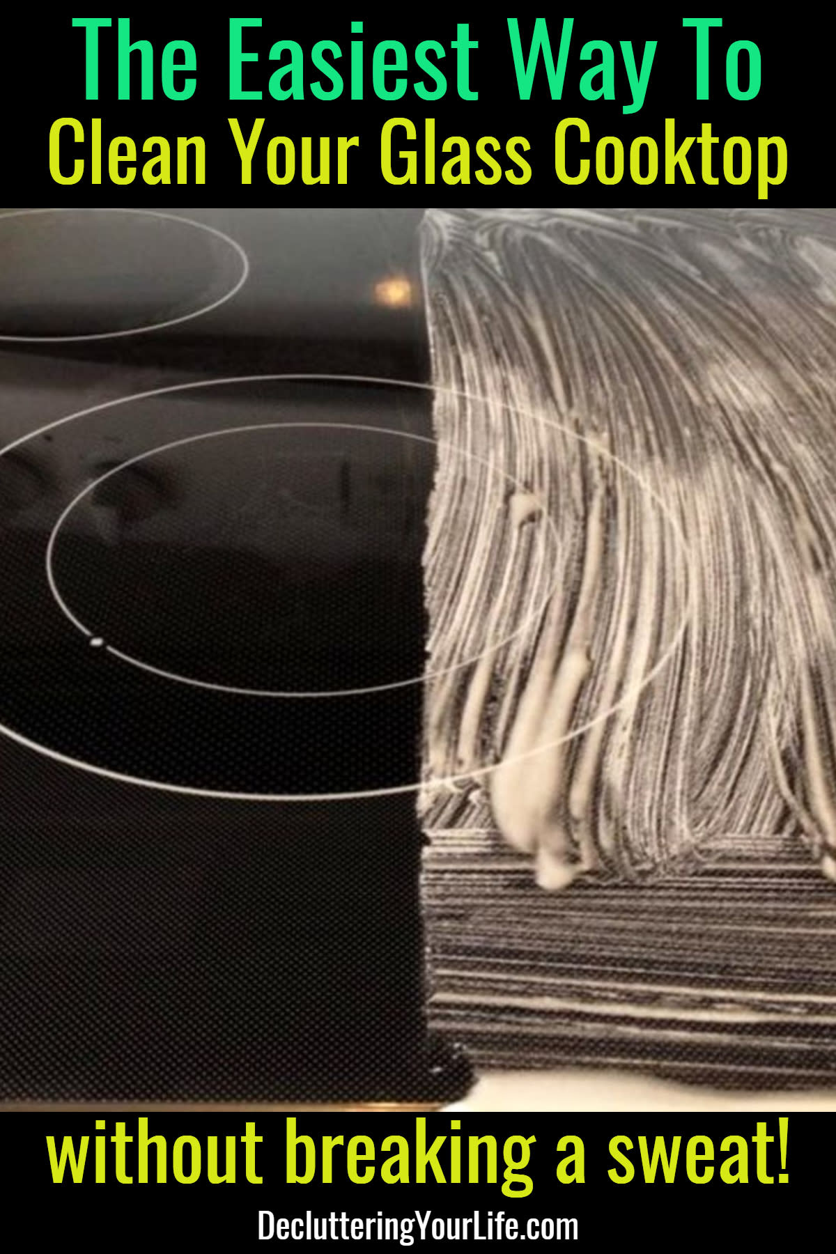 Clean Glasstop Stove the EASY Way - How to clean glass cooktop, black glass stove top tips and tricks - removes burnt on messes too!