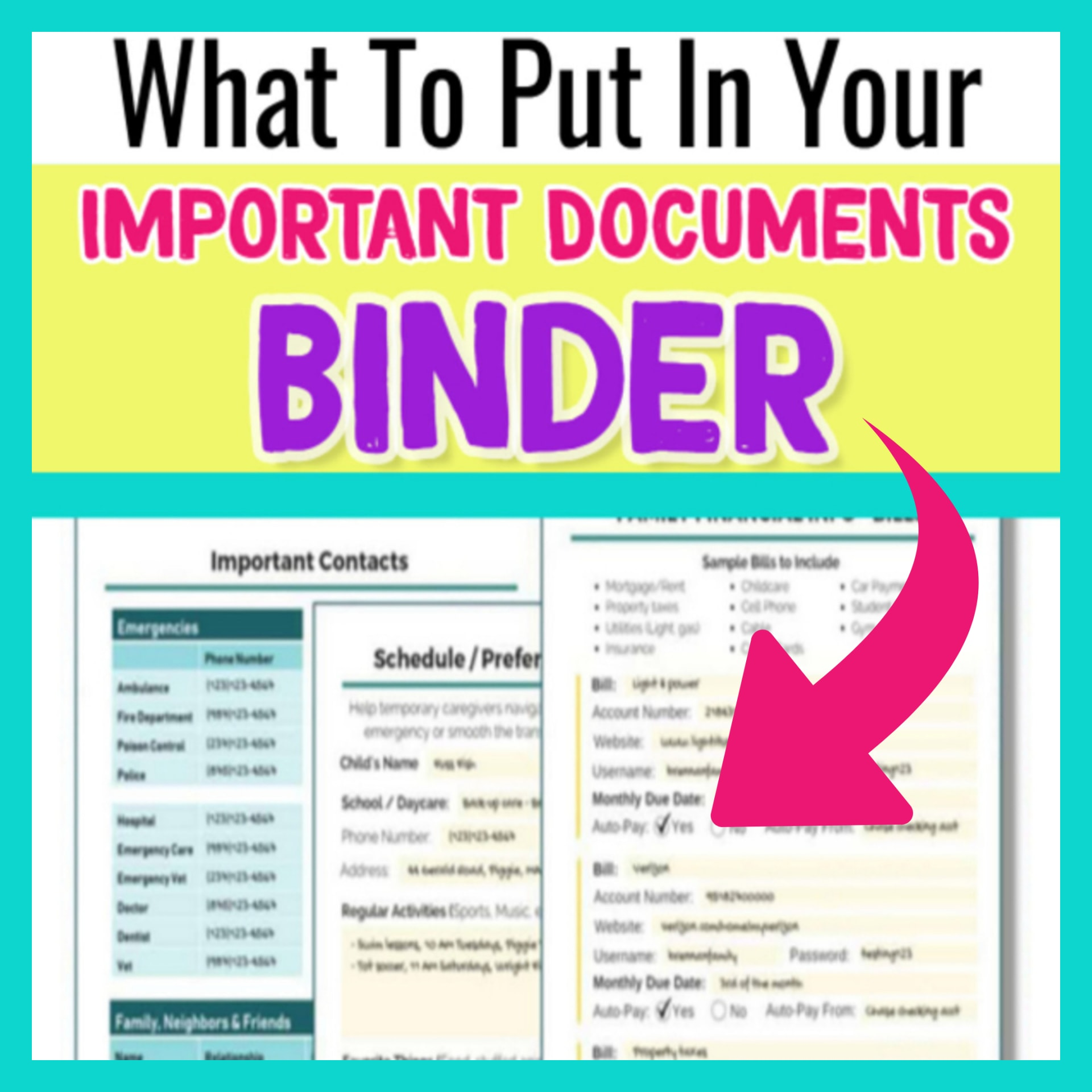 Important Documents Binder Ideas for Organizing a Simple Important Documents Finder and Family Emergency Binder.  Simple File Organization Tips for Emergency Kits and In Case of Emergency Binders for Families