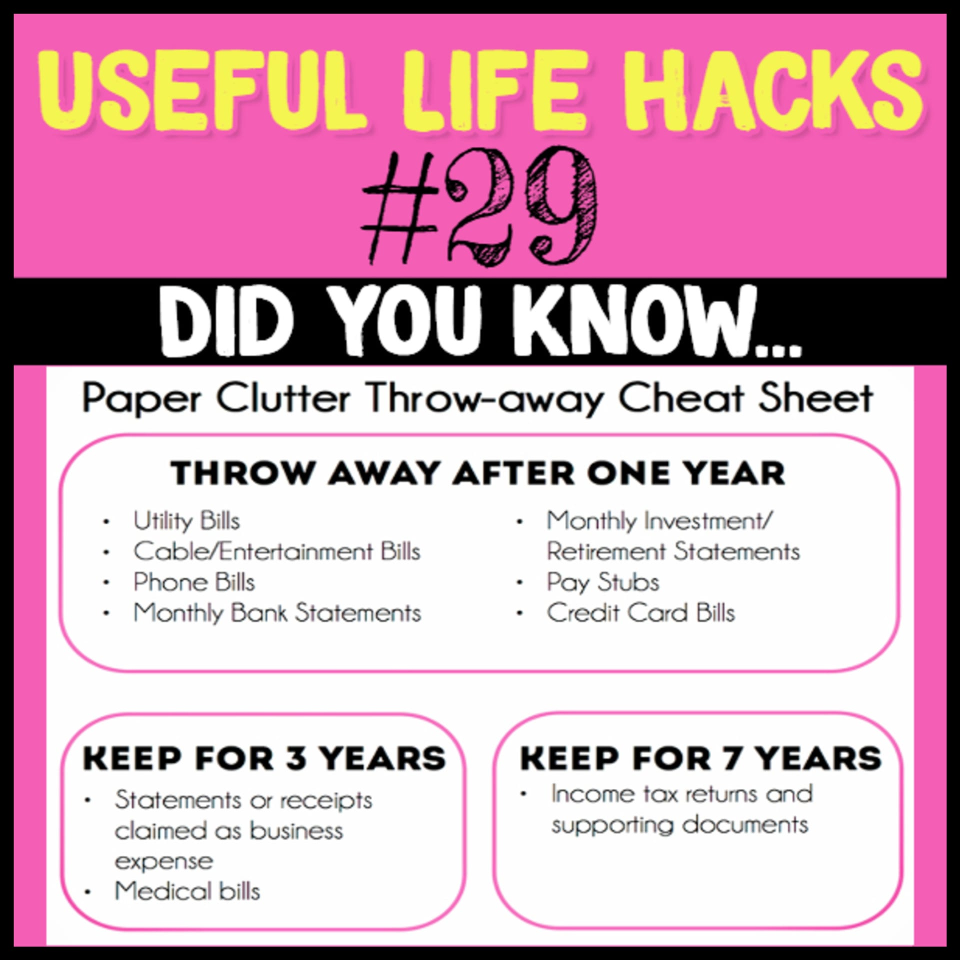 Keeping important documents tips - how long to keep documents and more paper clutter solutions - paper clutter throw-away cheat sheet and more Useful Life Hacks - MIND BLOWN!  Households life hacks and good to know hacks tips and lifehacks - these household hacks, cleaning tips & tricks are such helpful hints and life changing lifehacks