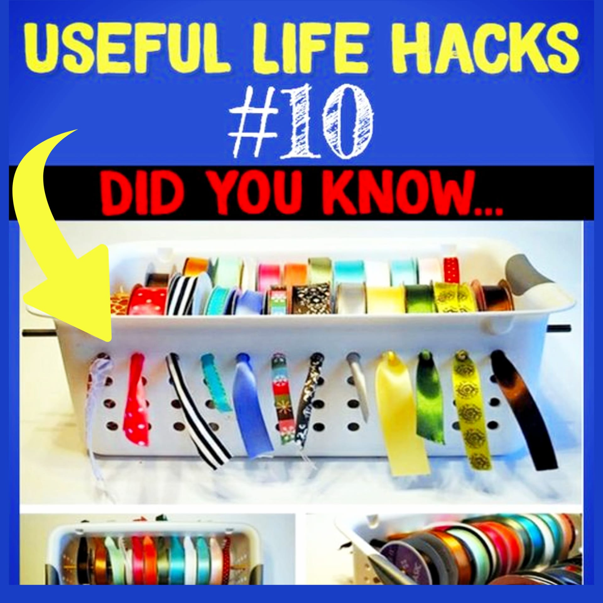 Craft ribbon storage ideas - awesome DIY dollar stores ribbon storage ideas and more craft room ideas on a budget for organizing big or small craft rooms - craft storage hacks and more Useful Life Hacks - MIND BLOWN!  Households life hacks and good to know hacks tips and lifehacks - these household hacks, cleaning tips & tricks are such helpful hints and life changing lifehacks