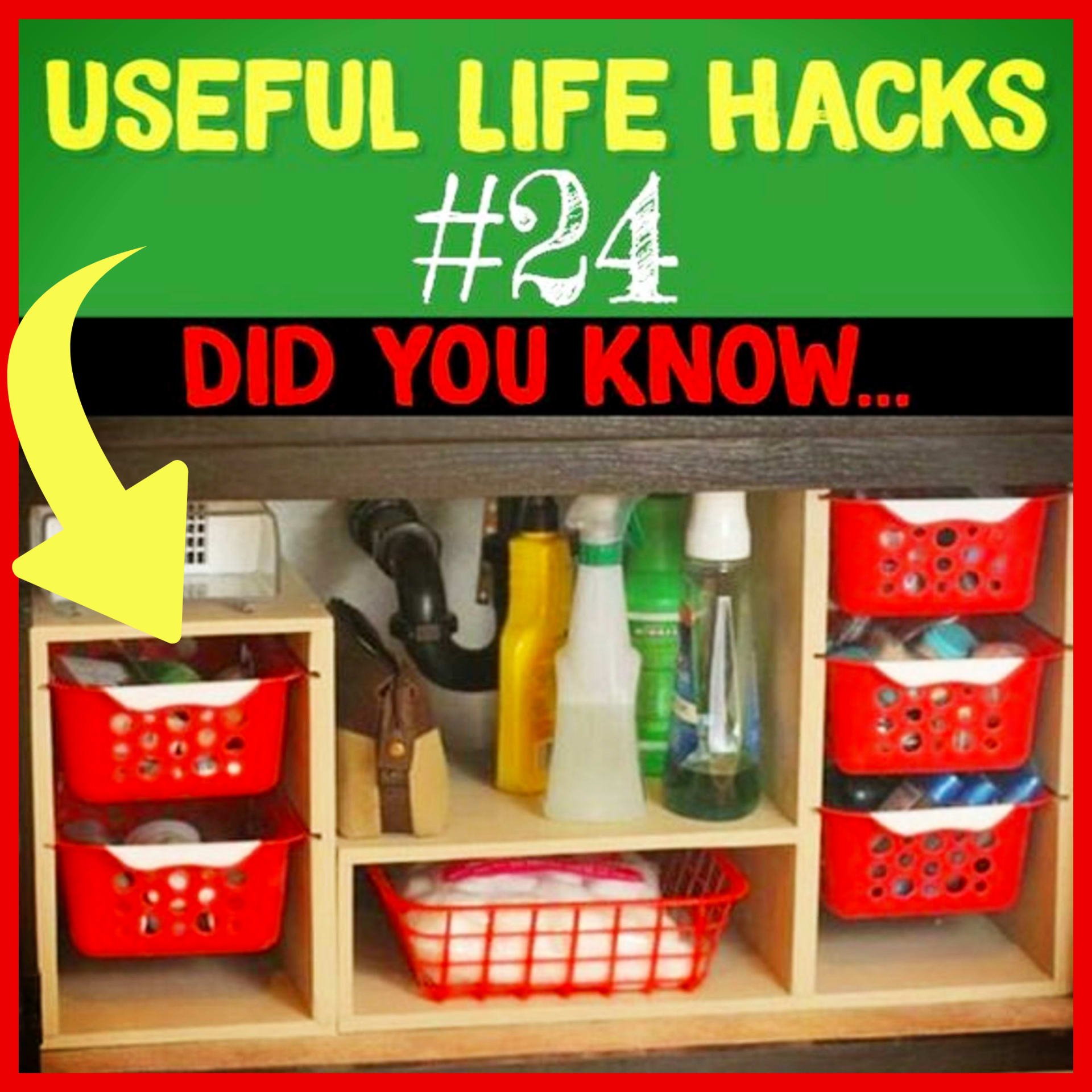 Under sink organization and under kitchen sink storage DIY dollar tree ideas - cleaning supplies organization and more Useful Life Hacks - MIND BLOWN!  Households life hacks and good to know hacks tips and lifehacks - these household hacks, cleaning tips & tricks are such helpful hints and life changing lifehacks