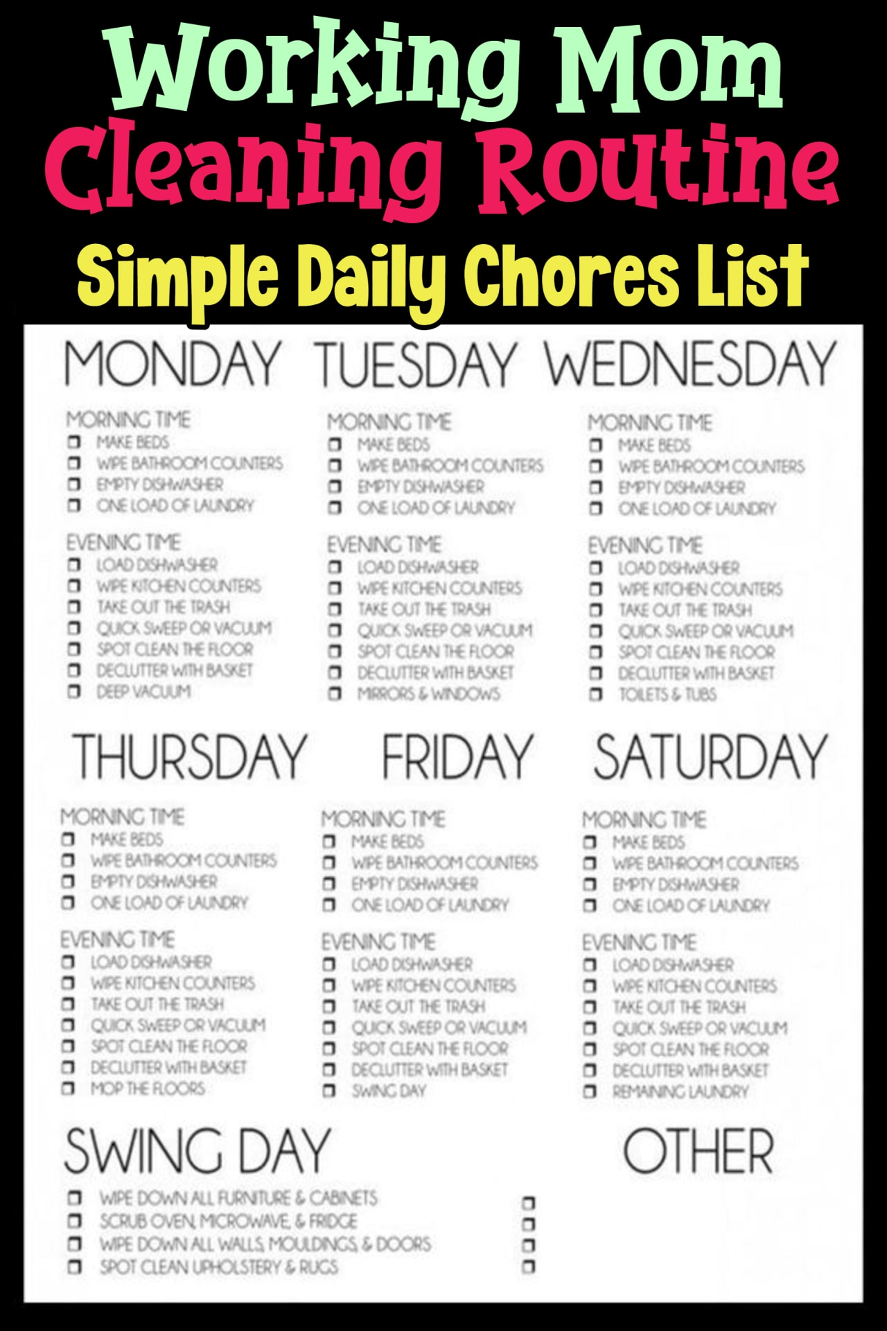 Working mom cleaning routine cna cleaning schedule for working moms or working parents - simple daily chores to do each day and each night to keep your house cleaning - easy cleaning schedules for busy moms - printable cleaning schedule, cleaning checklists and cleaning routines