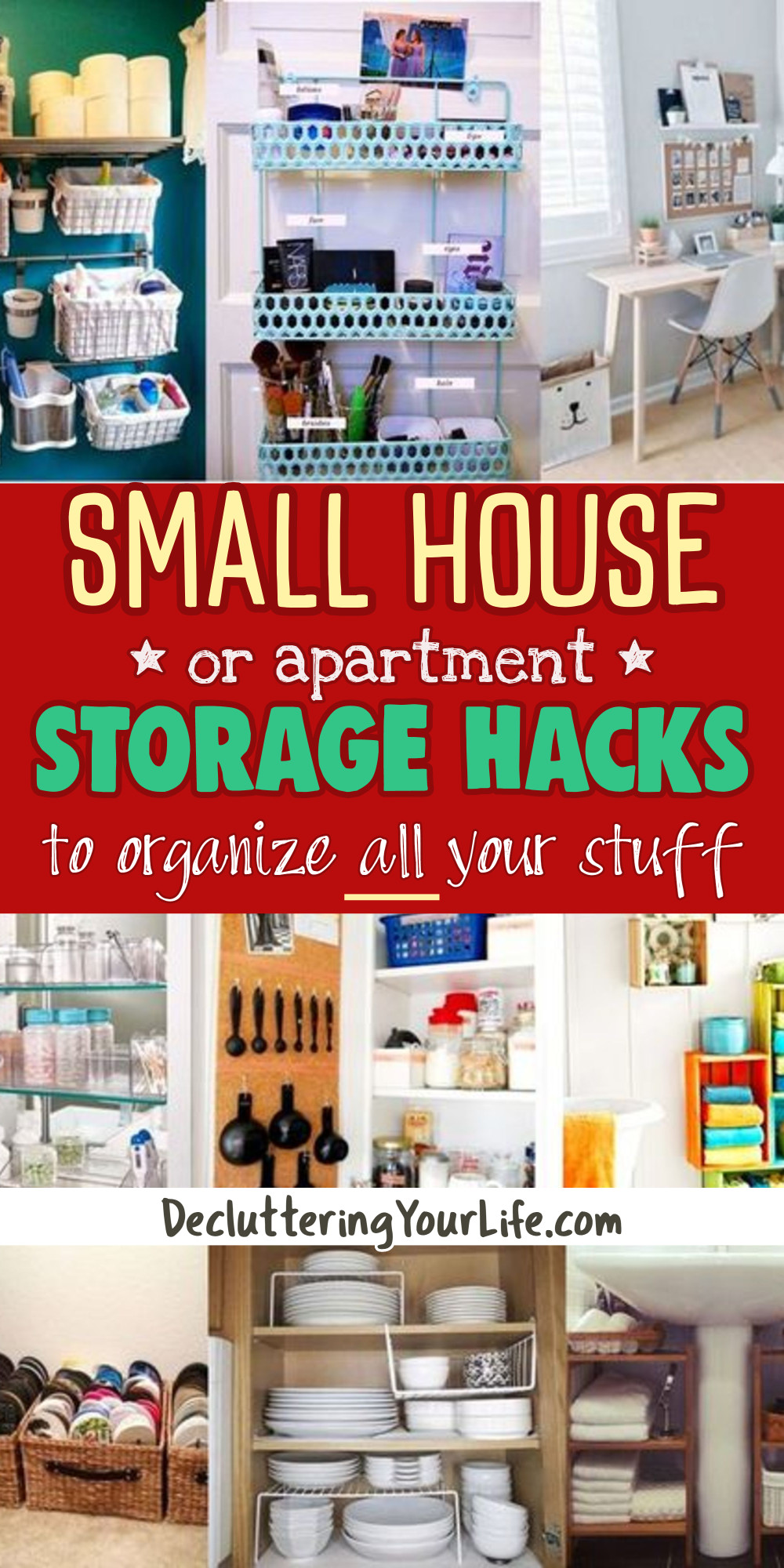 Small House Storage Solutions and Clutter Control Inspiration - Tips from professional organizers: organizing ideas, declutter and organize and decluttering ideas when feeling overwhelmed, how to organize your home, get organized at home, storage and organization ideas for the home, getting organized help, tips and tricks plus home organization hacks from Decluttering Your Life  - Let's Get Organized!