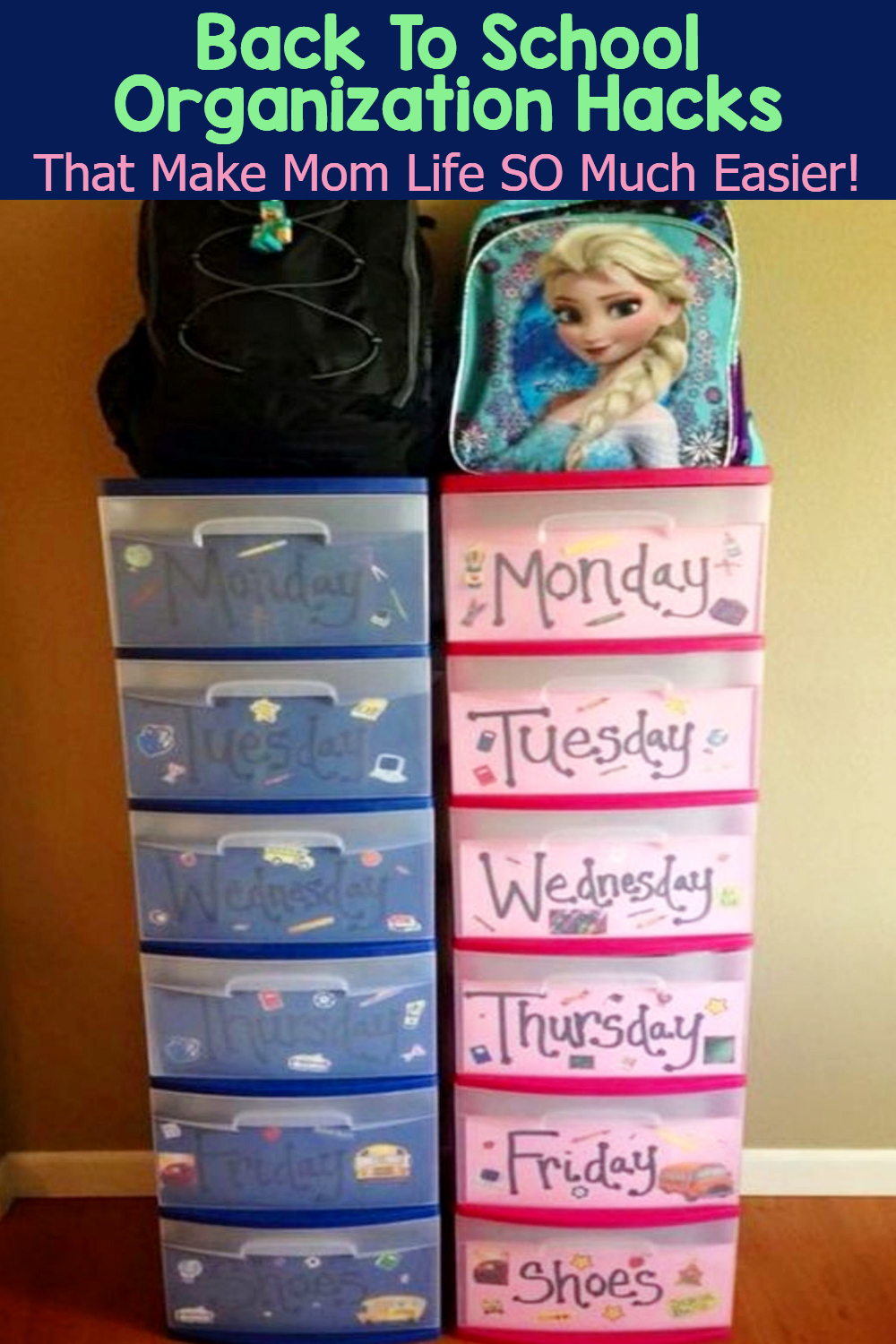 Simple Back To School Organization For Moms for getting organized at home with your kids morning routines and all year long - school year organization tips and ideas for  organized moms and for all parents to get organized this year and STAY organized WITHOUT feeling overwhelmed.