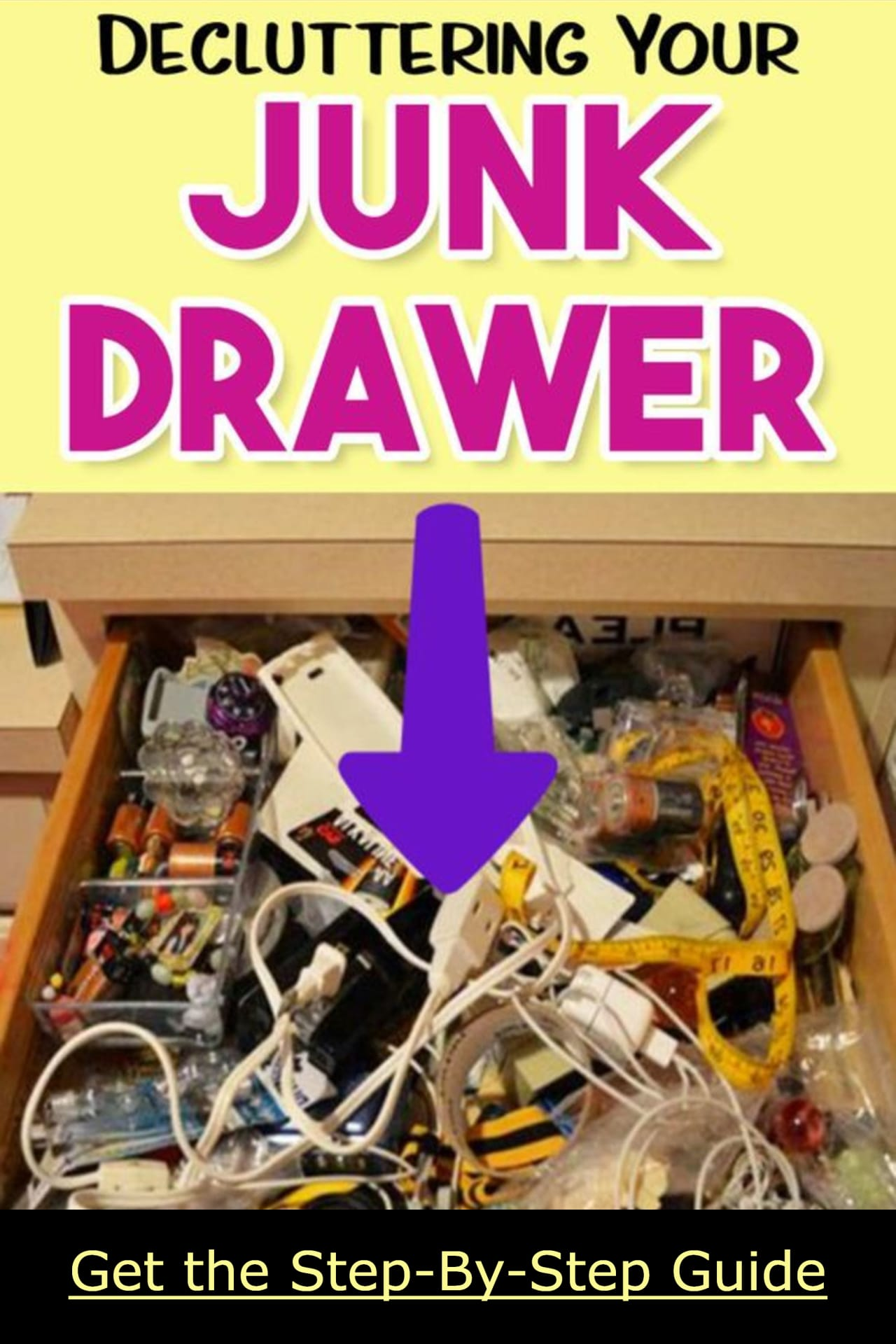 How to clean a cluttered house FAST... step by step, room by room, drawer by drawer.  Declutter and organizing your kitchen junk drawers the easy way