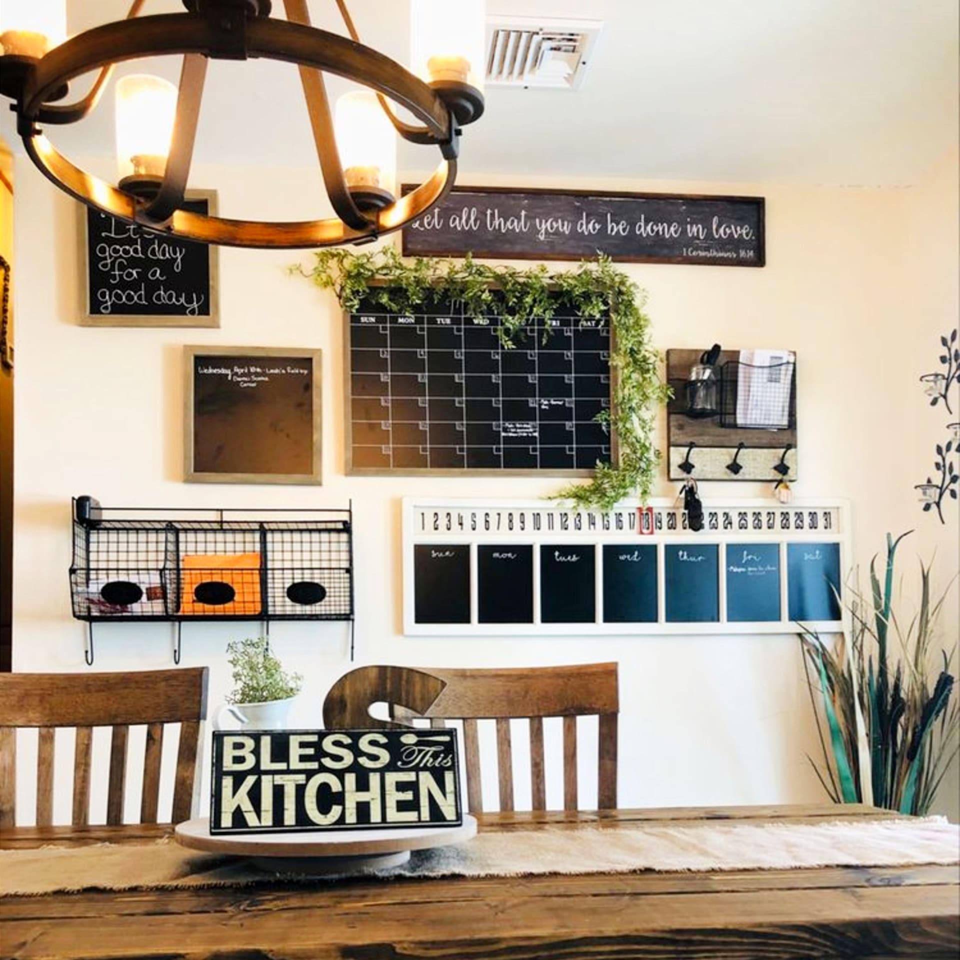 declutter kitchen clutter on counters and countertops with a DIY family command center idea like these