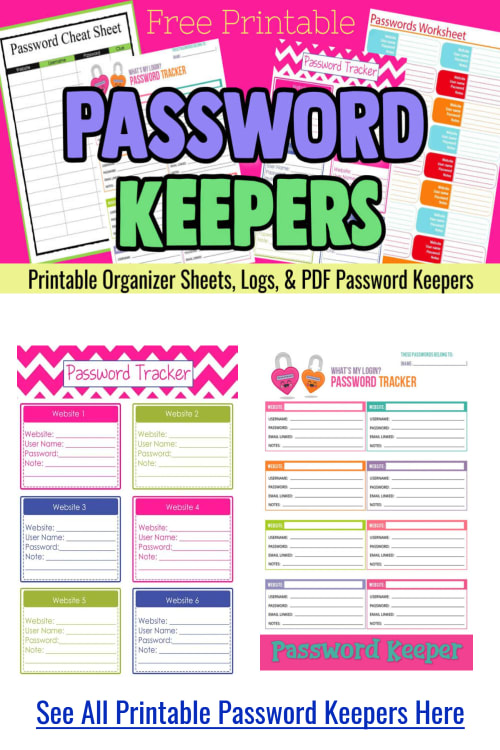 Password Keepers - free printable password organizer pdf logs and password sheets - password tracker username and password template pdf for a password cheat sheet printable file to keep your internet passwords organized