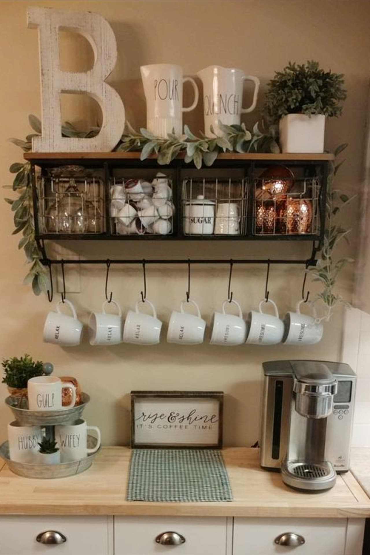 declutter kitchen countertops with these kitchen clutter solutions - coffee bar ideas to organize kitchen counters on a budget