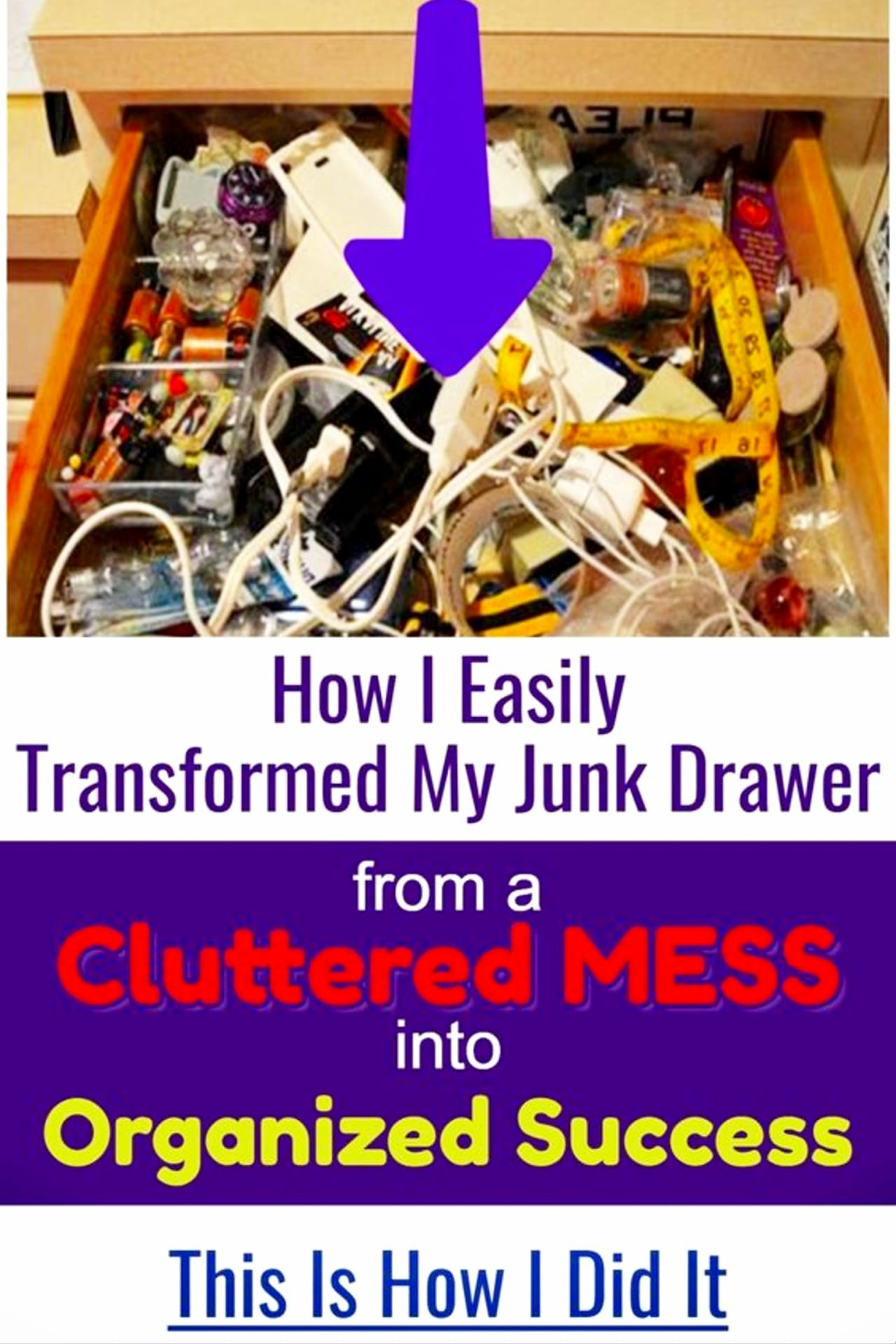 kitchen clutter solutions - declutter kitchen cabinets and drawers and organize your junk drawer on a budget