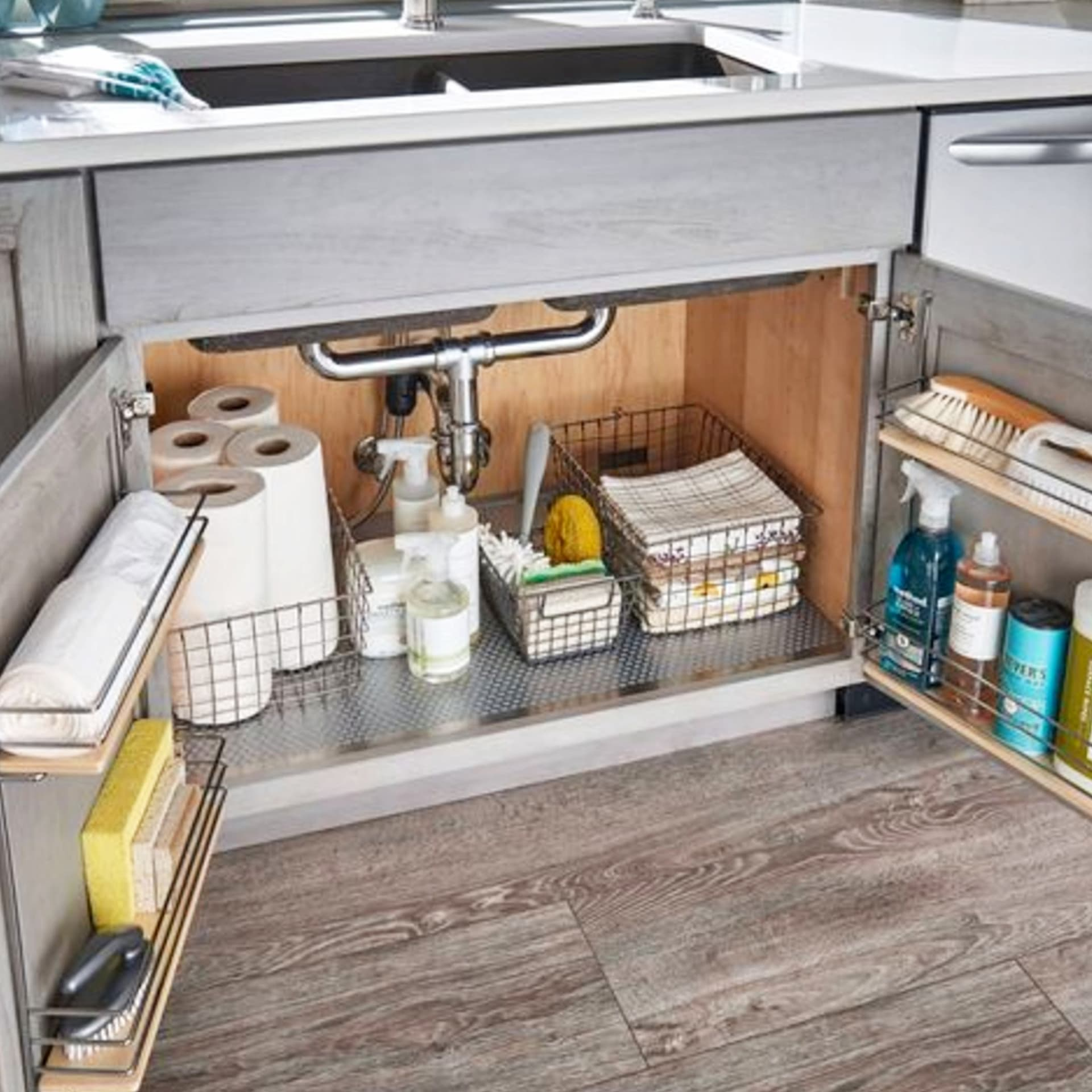 kitchen clutter solutions - declutter kitchen cabinets and organize under kitchen sink for an uncluttered kitchen on a budget