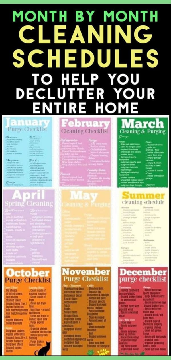 Monthly Cleaning Schedule - printable monthly cleaning checklist pdf, working womens housekeeping schedule, house cleaning schedule daily weekly monthly pdf checklist, free pdf template, family, easy house cleaning schedule routine, household chores, housekeeping schedules and checklists
