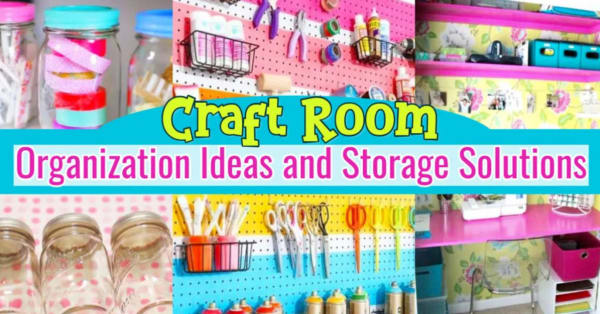Craftroom Organization Tricks and Ideas For Organizing Your Craft Room On a Budget - Whether you have a big crafting area, small crafting nook or a bedroom / sewing room craftroom combo, these storage and organization hacks will help you get organized and STAY organized