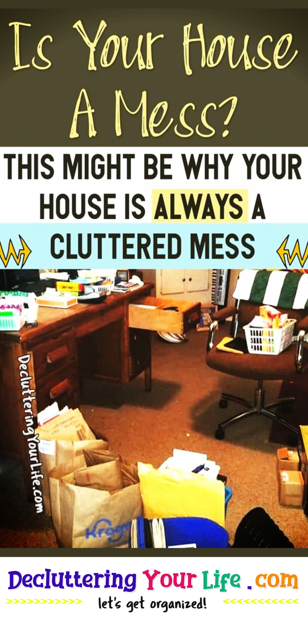 House ALWAYS a MESS? How to control clutter & where to start uncluttering your home - Go from cluttered mess to organized success with my Decluttering Club Declutter Challenge tips & inspiration to UNclutter your home without feeling overwhelmed or making decluttering mistakes